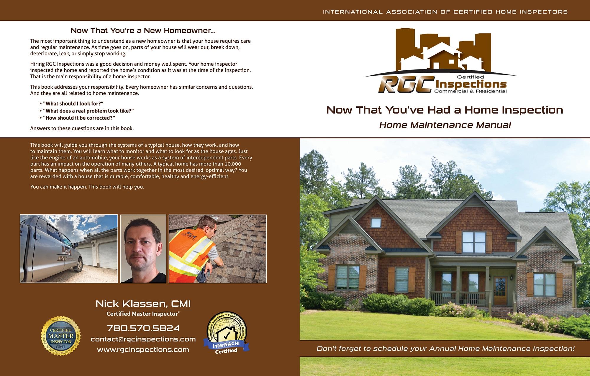 Custom Home Maintenance Book for RCC Inspections.
