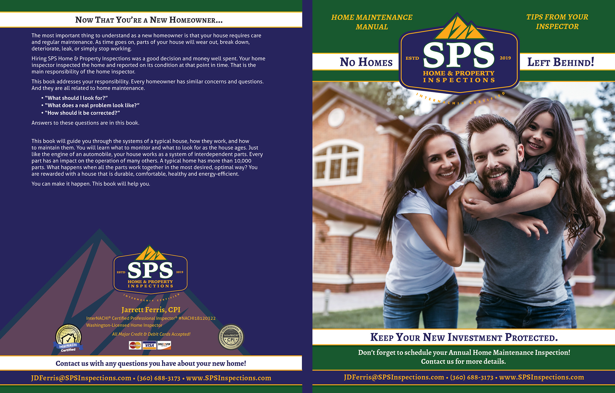 Custom Home Maintenance Book for SPS Home & Property Inspections