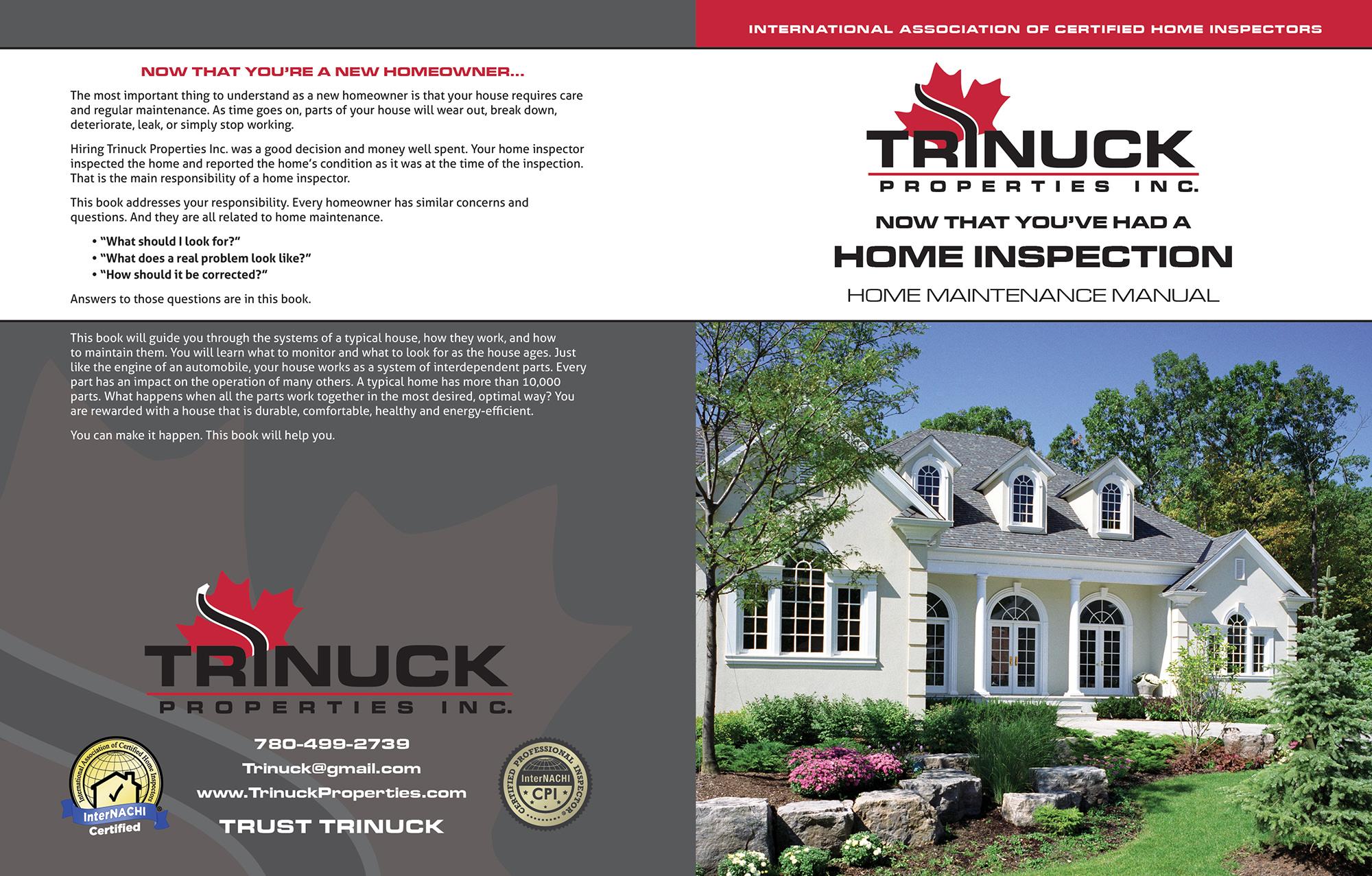 Custom Home Maintenance Book for Trinuck Properties