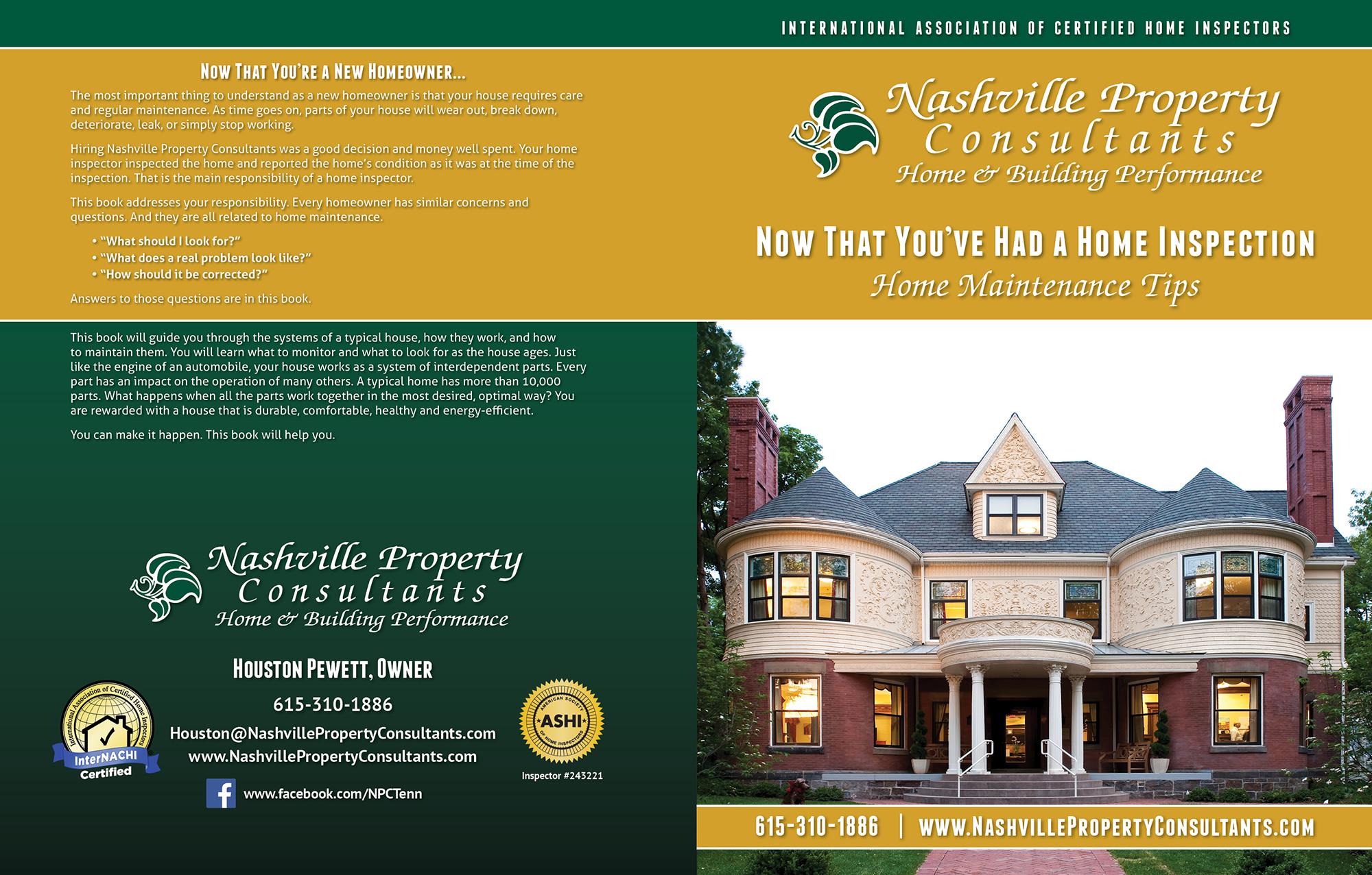 Custom Home Maintenance Book for Nashville Property Consultants.
