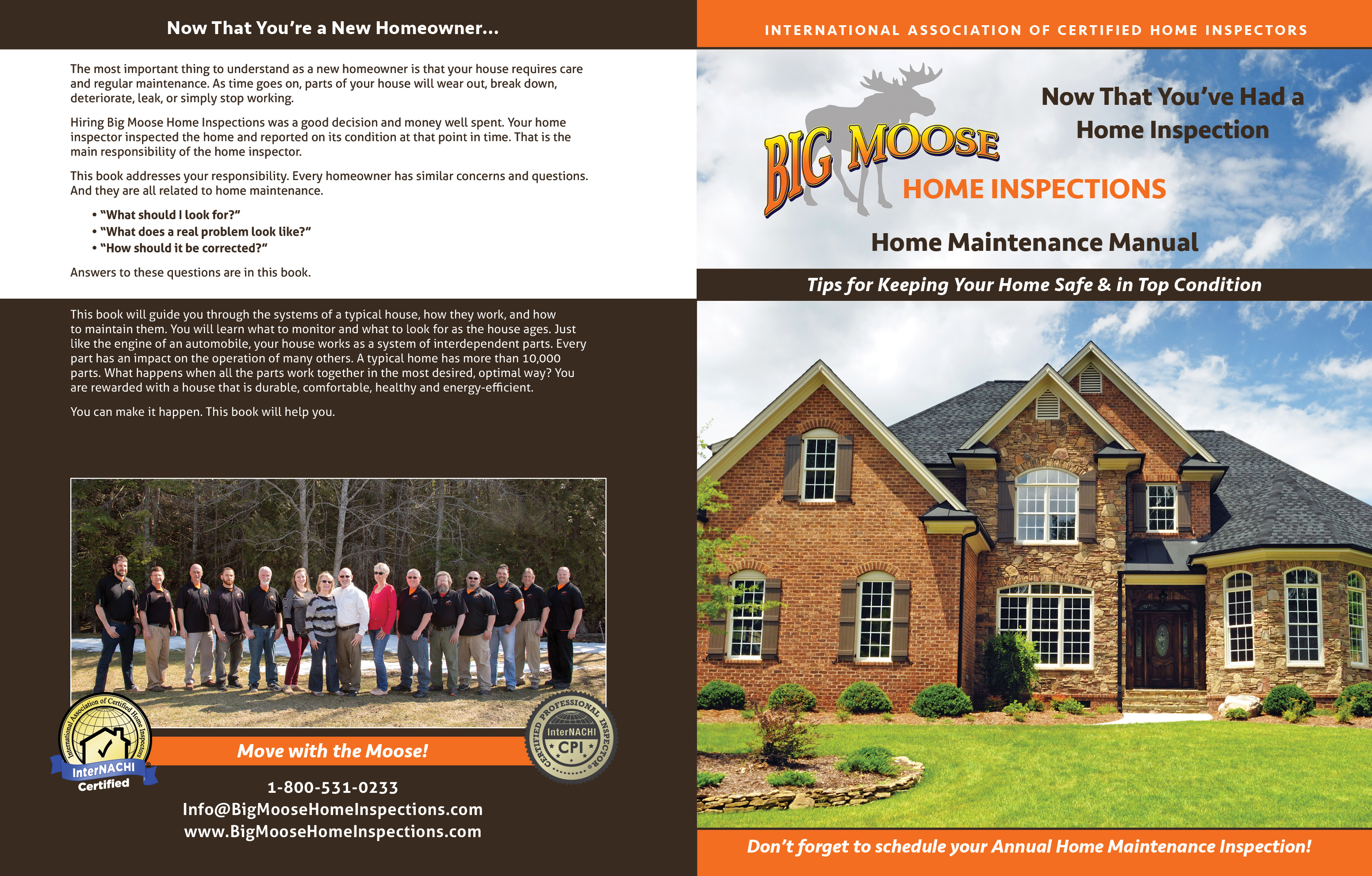 Custom Home Maintenance Book for Moose Home Inspections