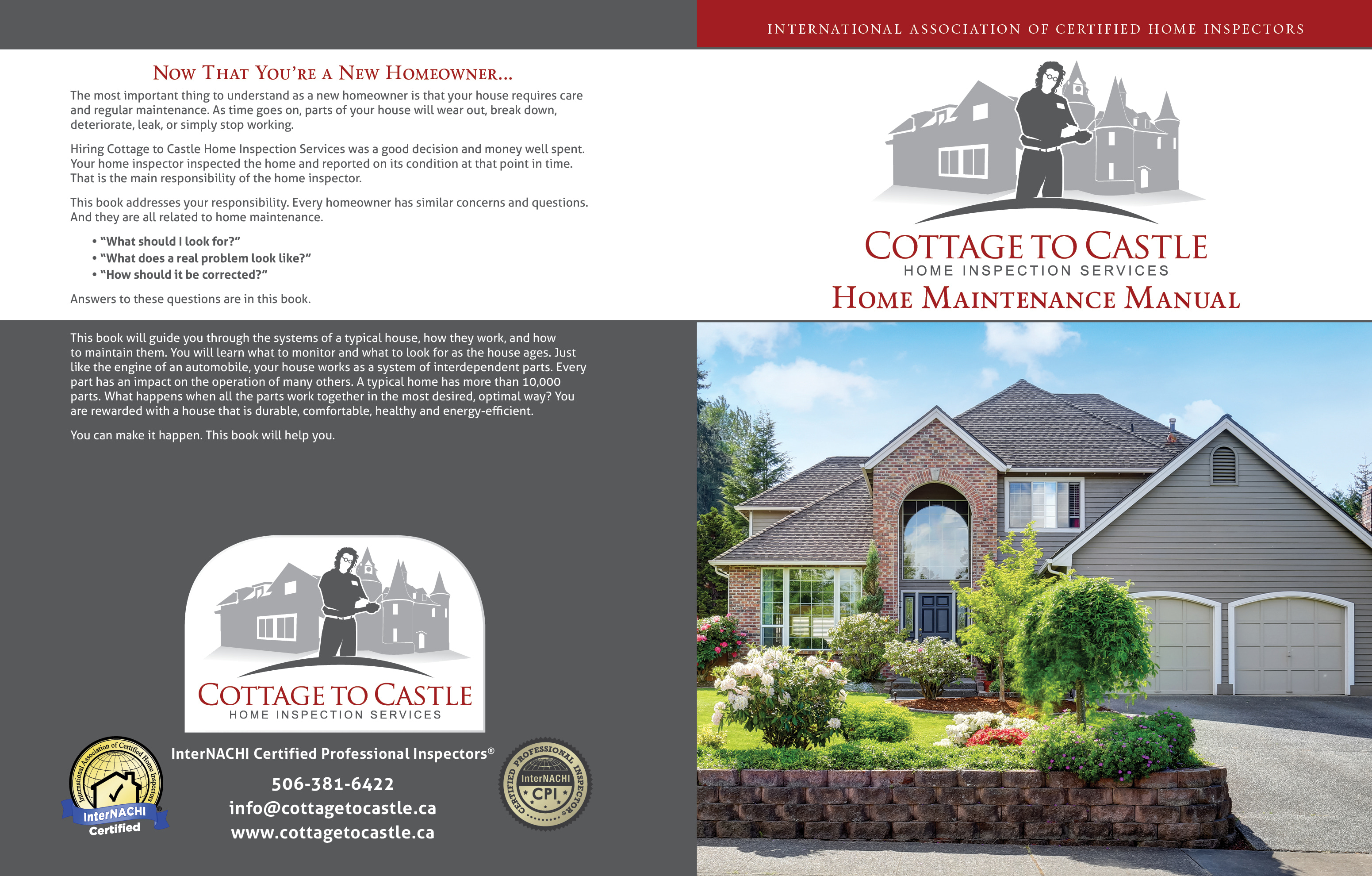 Custom Home Maintenance Book for Cottage to Castle Home Inspection Service