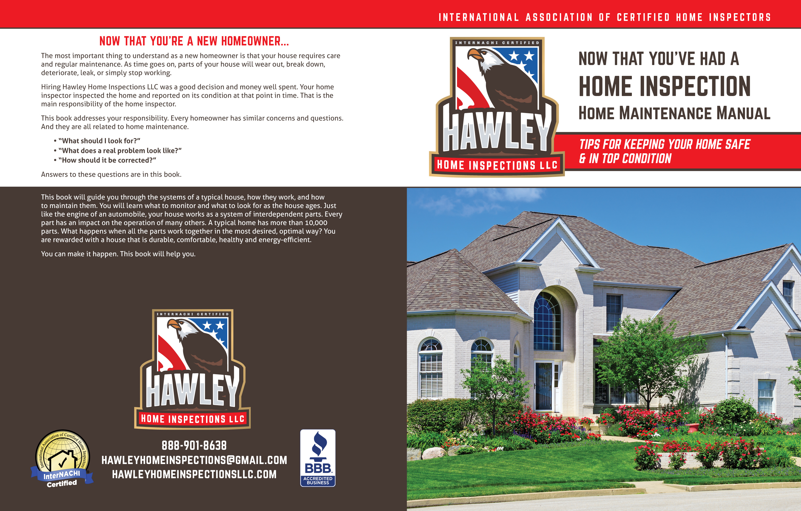 Custom Home Maintenance Book for Hawley Home Inspections