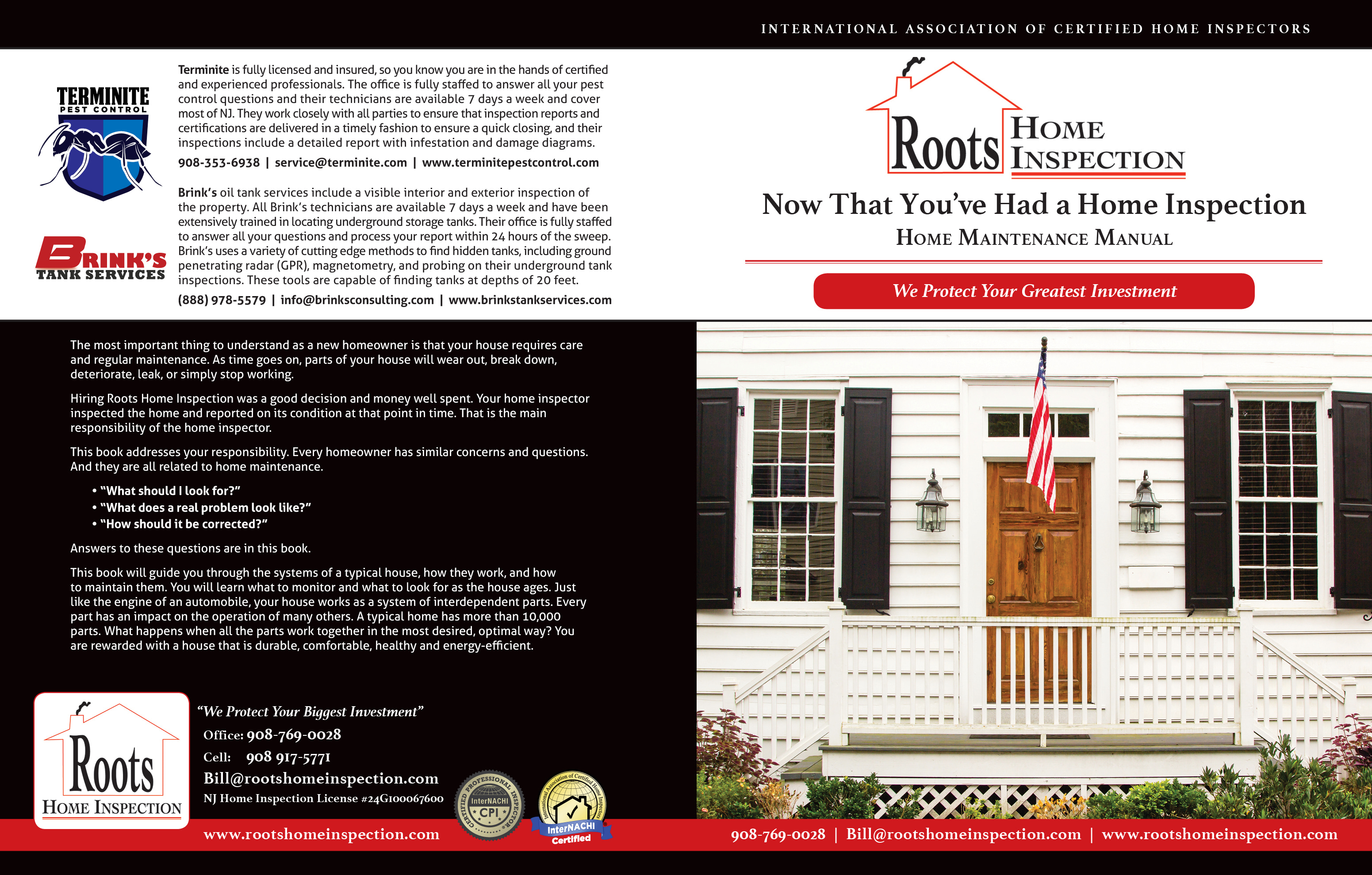 Custom Home Maintenance Book for Roots Home Inspection