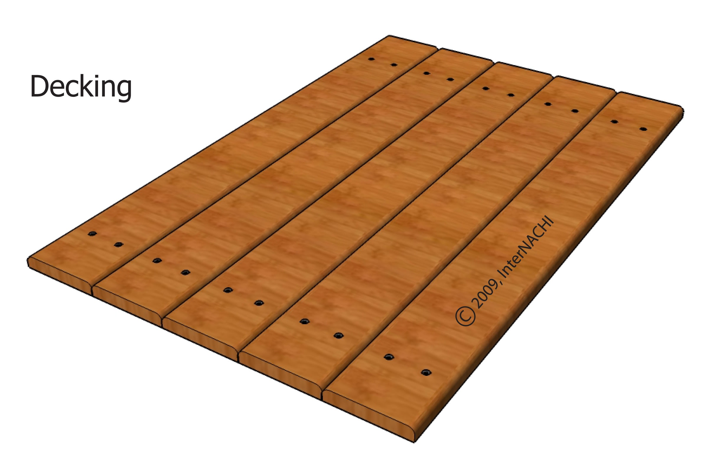 Decking with no gaps (incorrect).