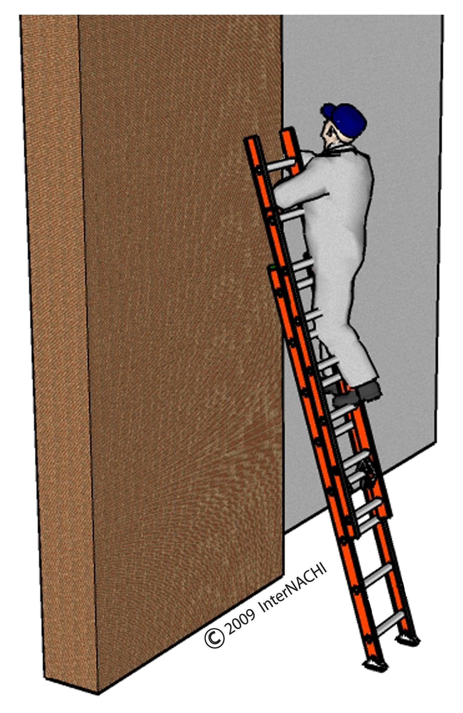 Proper ladder use.