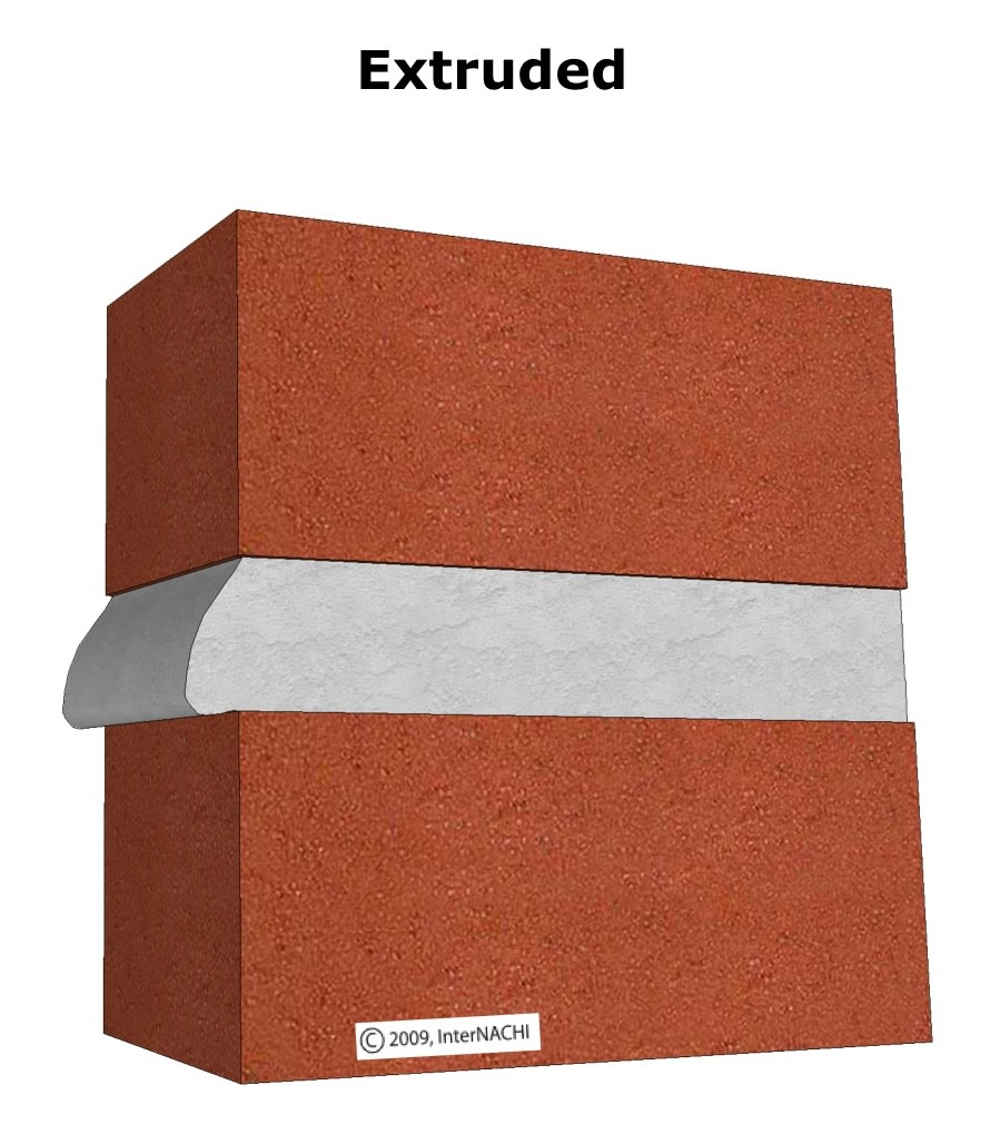 Extruded mortar joint.