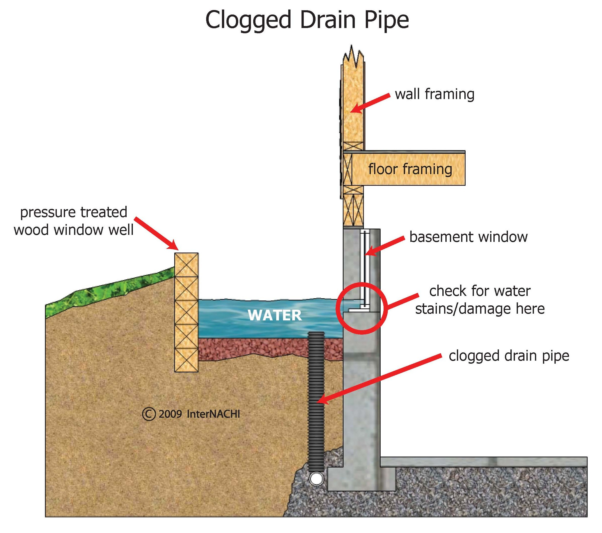 Clogged drain at well window.