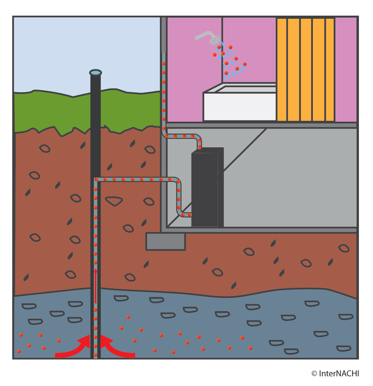 Radon in water.