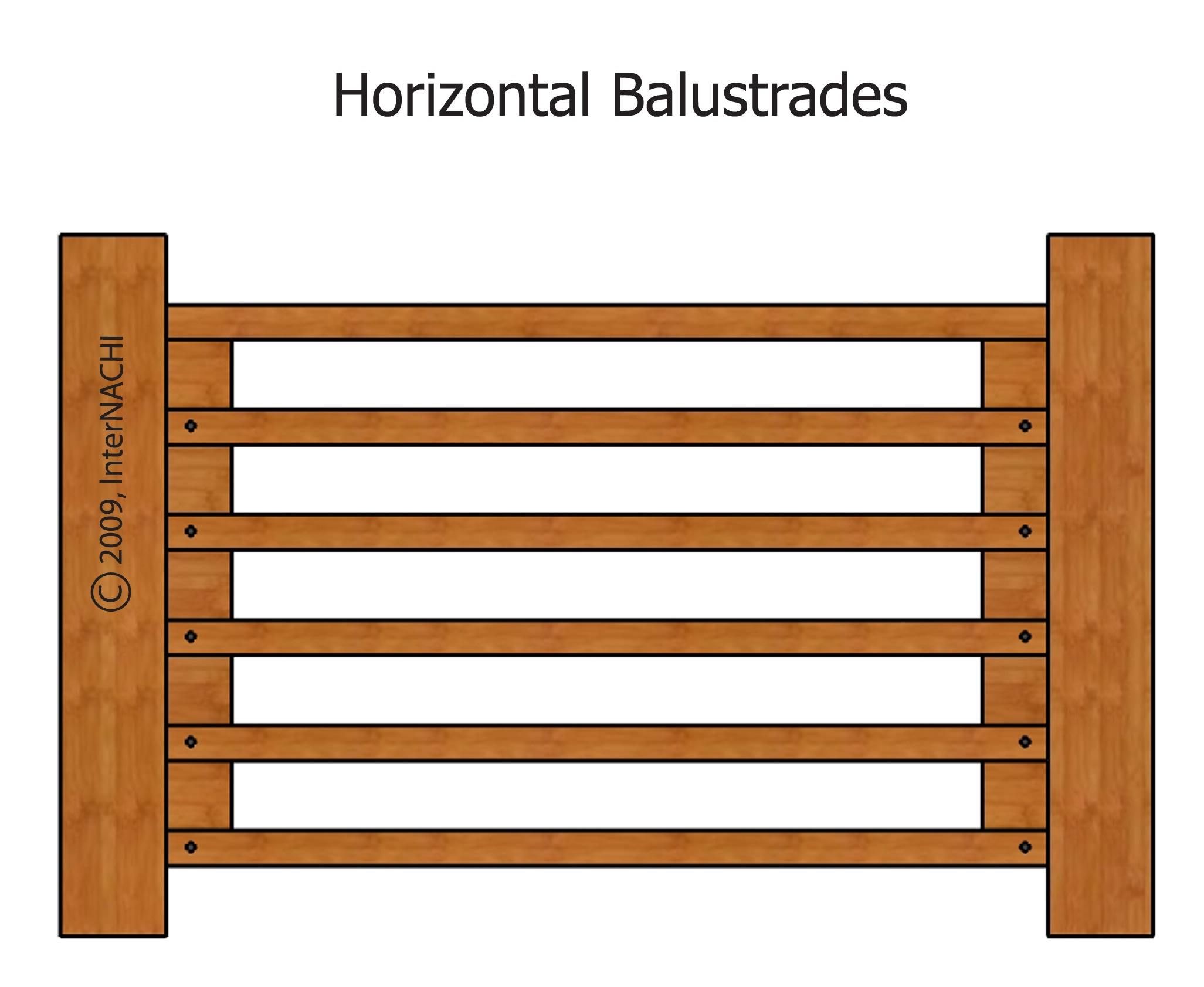 Horizontal balustrades.  Children can climb.
