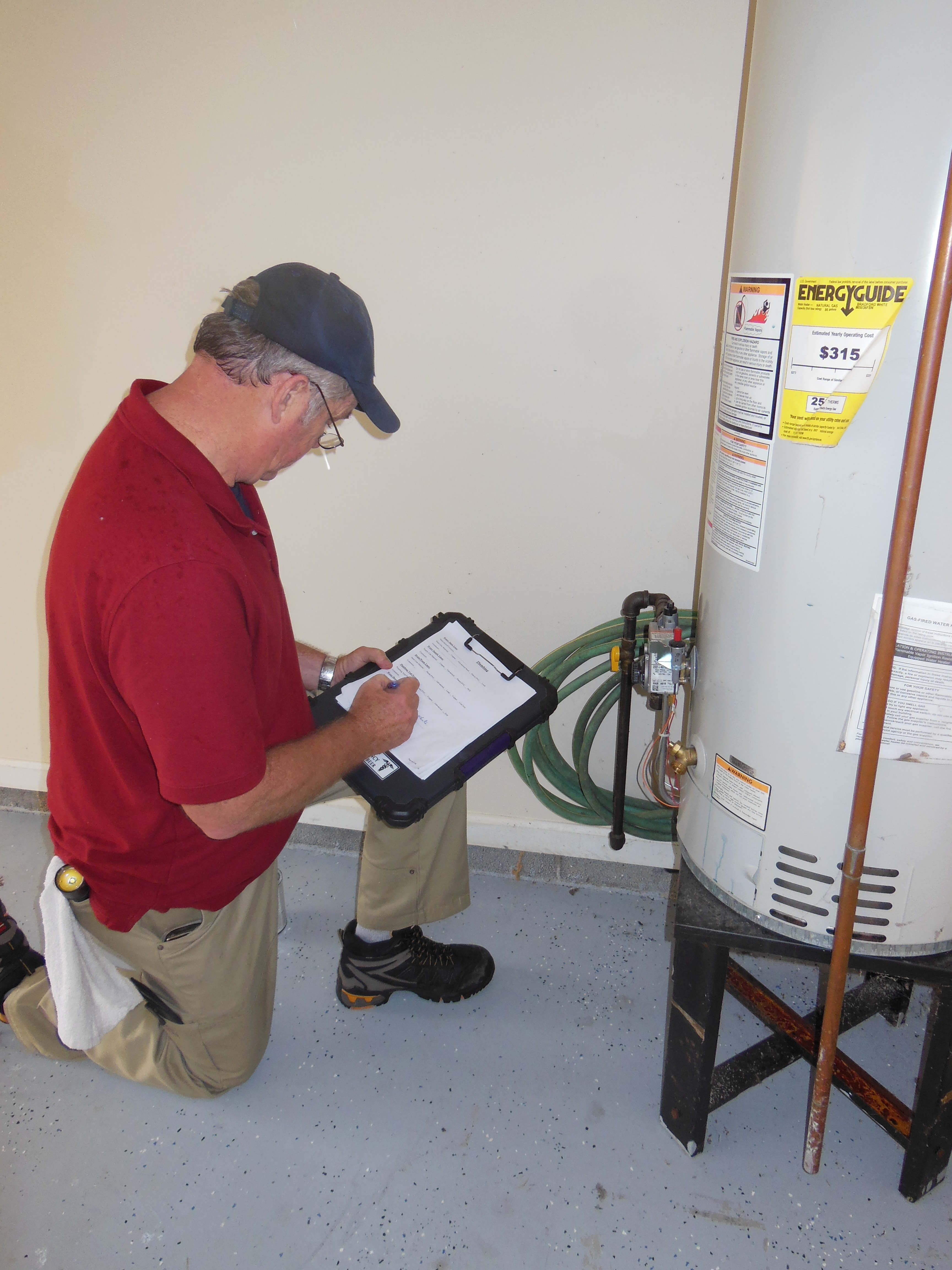 Water heater inspection.