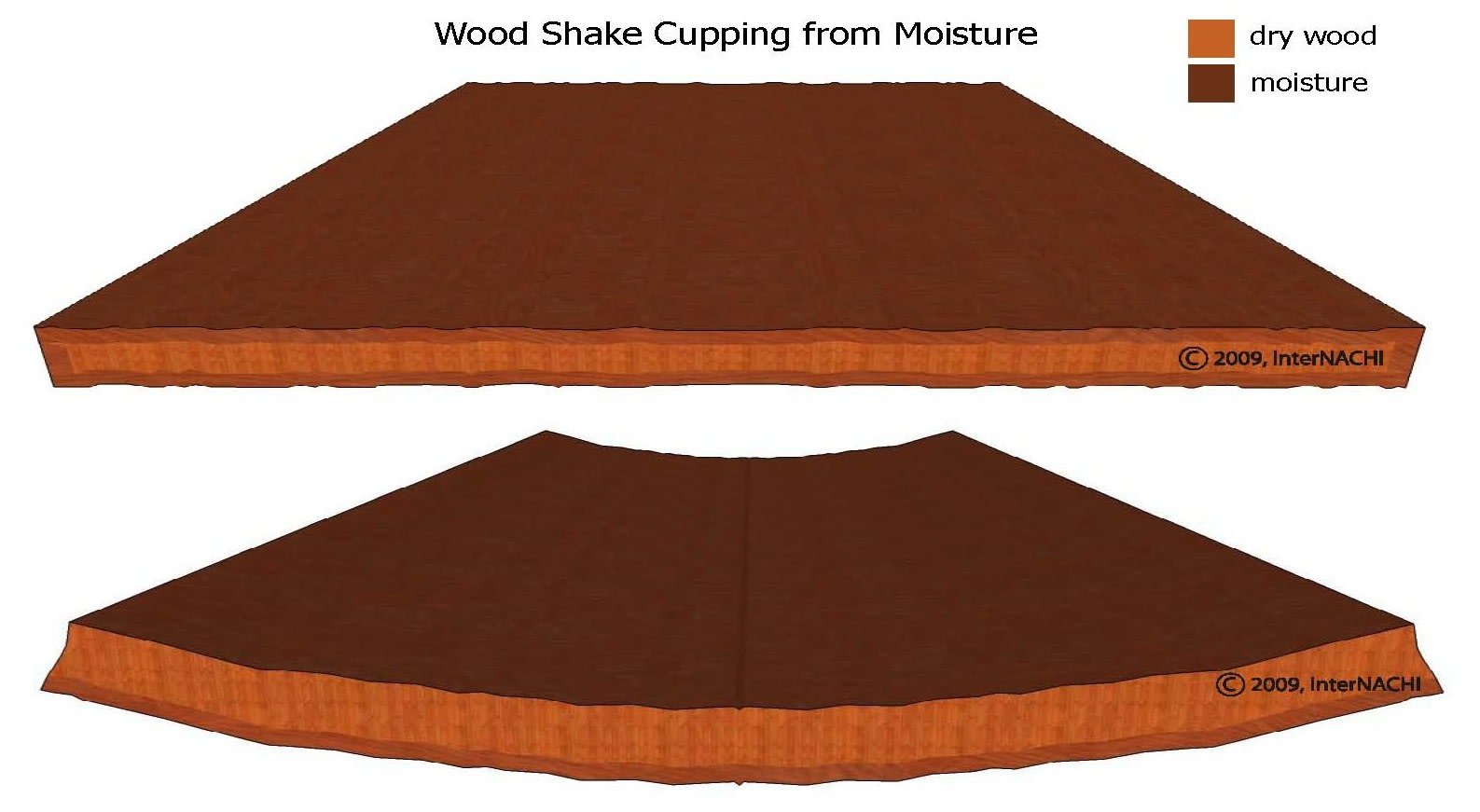 Wood shake cupping from moisture.