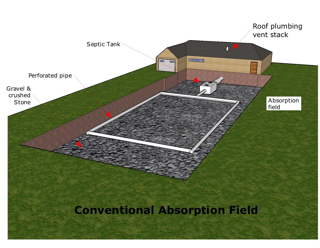 Conventional septic system absorption drainfield.