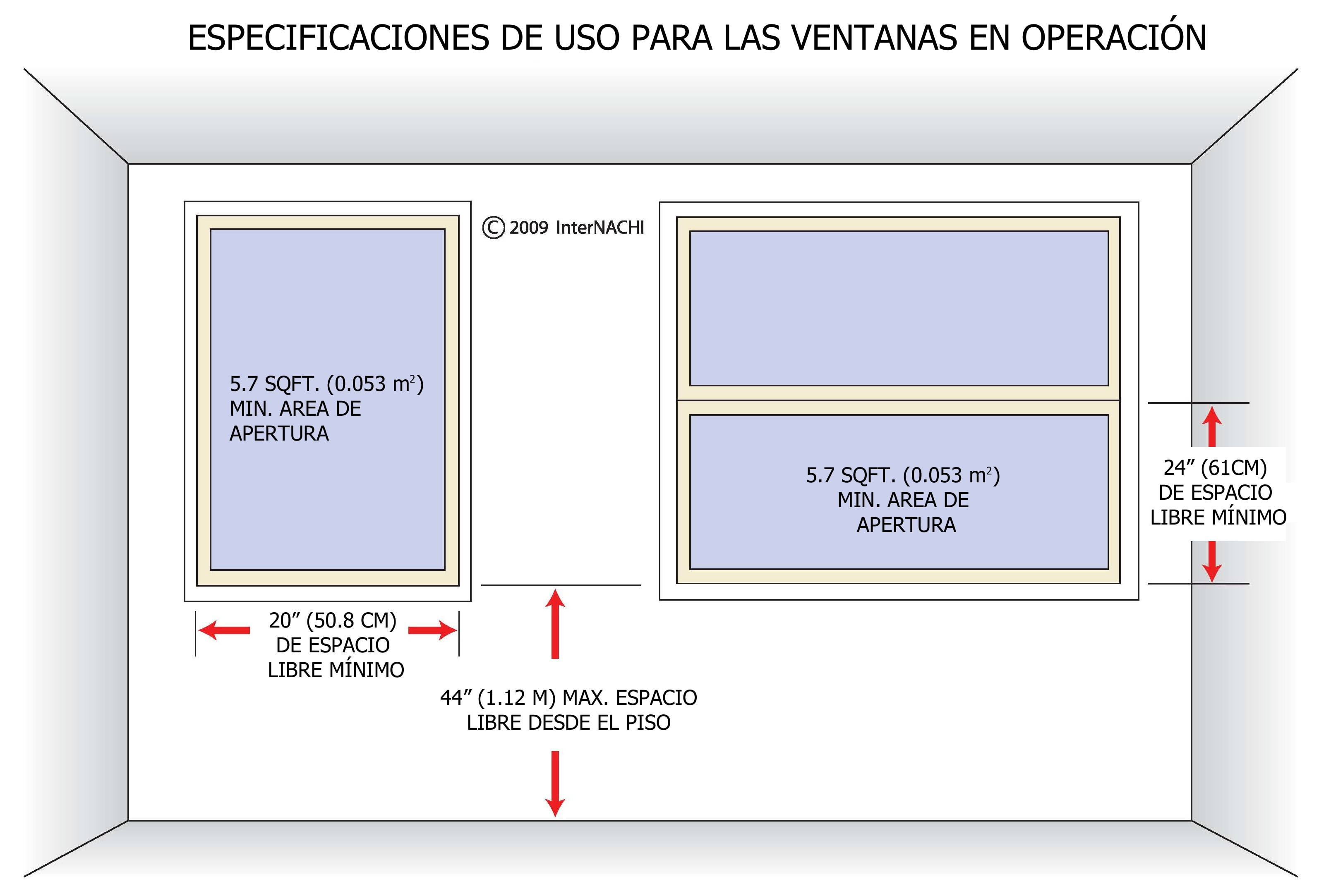Internachi inspection graphics library spanish inspection for Window height from floor