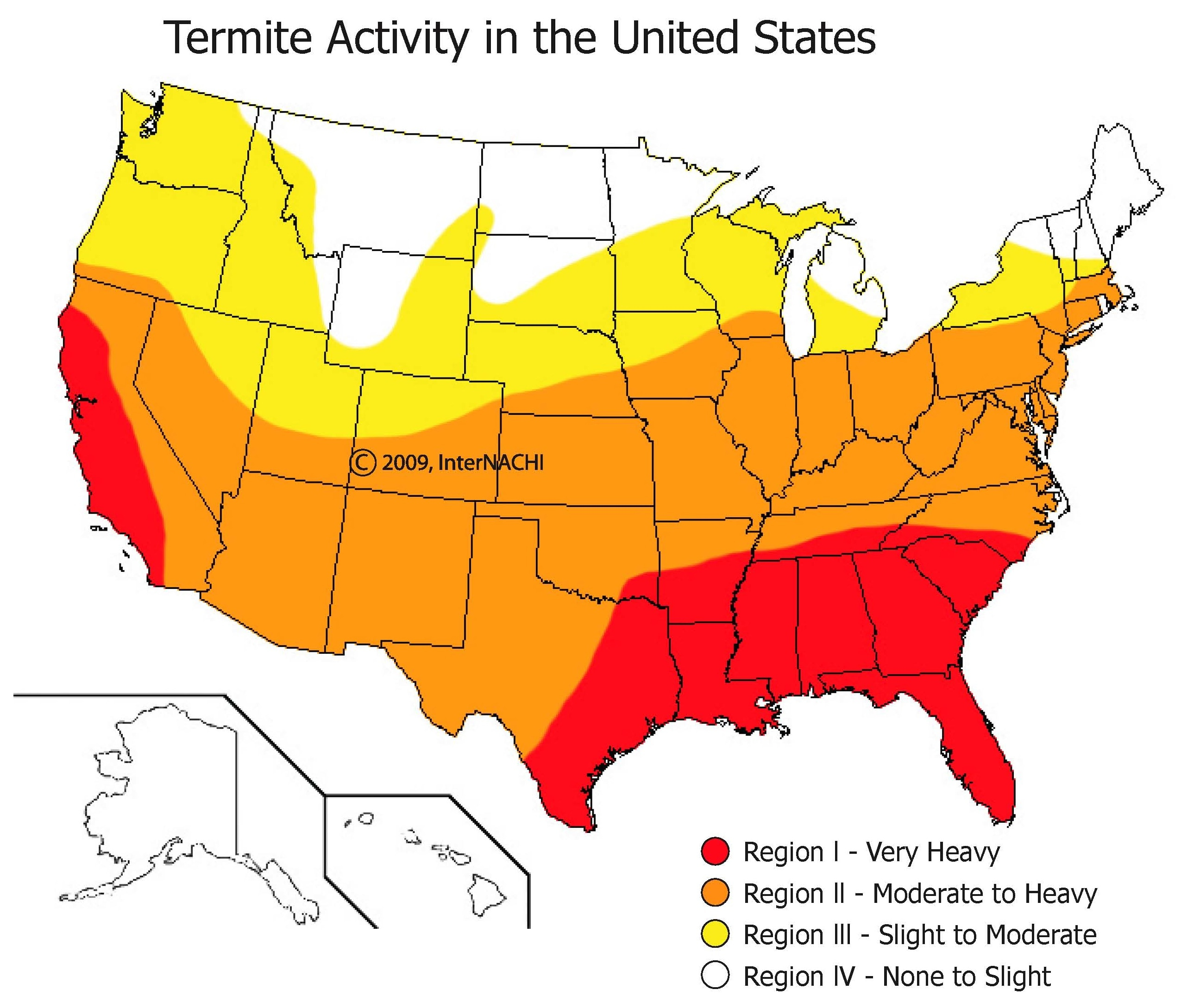 Termite activity in the U.S.