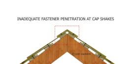 Inadequate Fastener Penetration at Cap Shakes