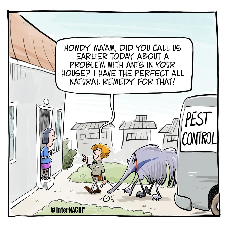 An Environmentally Conscious Pest Control Inspector Cartoon