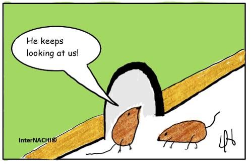 Inspector Finding Mice Cartoon