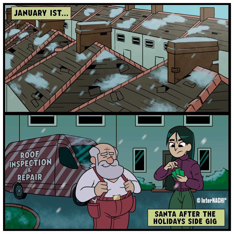 Santa's Side Gig Holiday Themed Cartoon