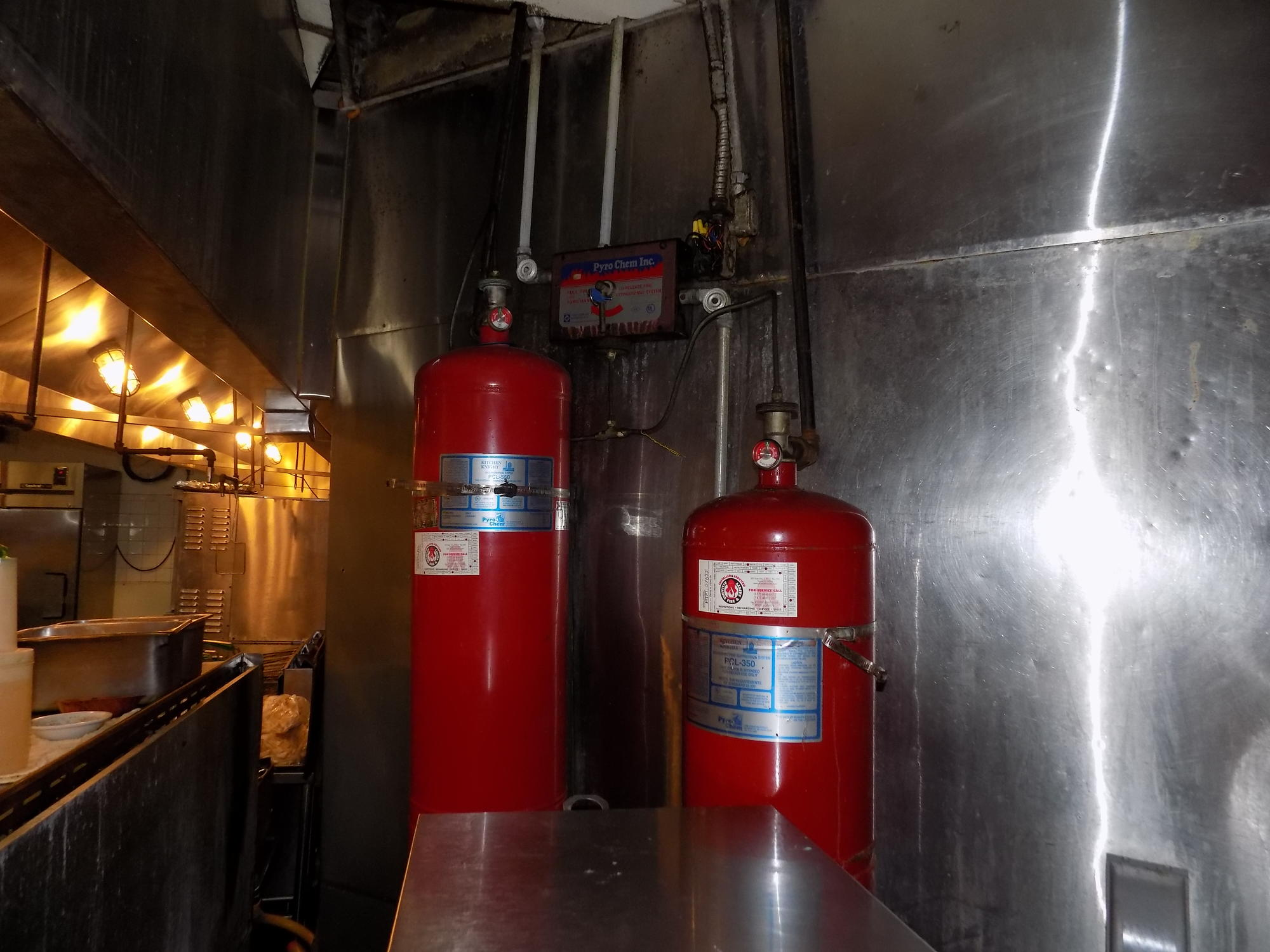Commercial kitchen fire suppression.