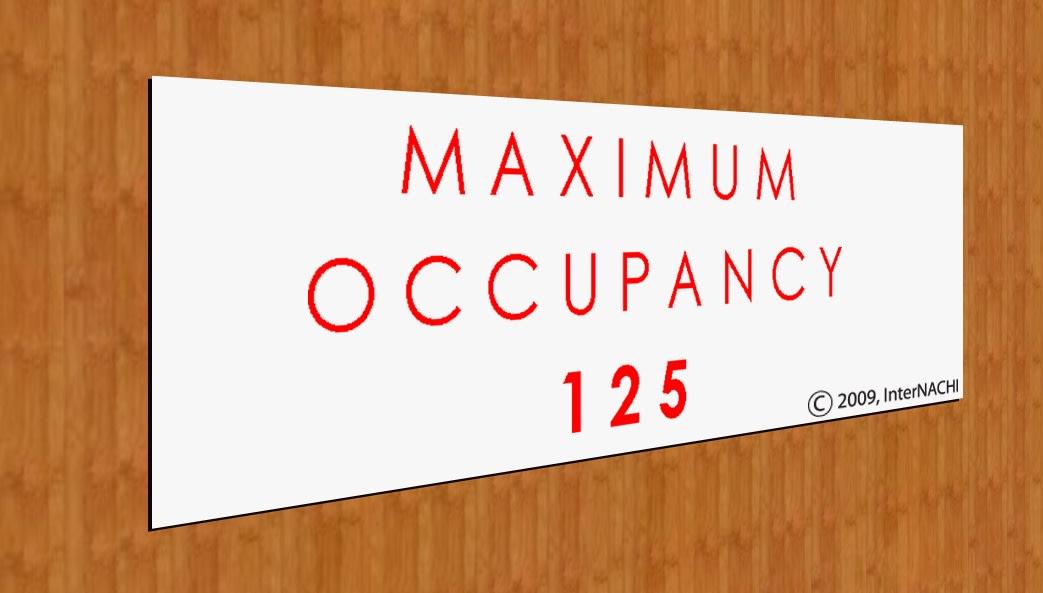 Maximum occupancy sign.