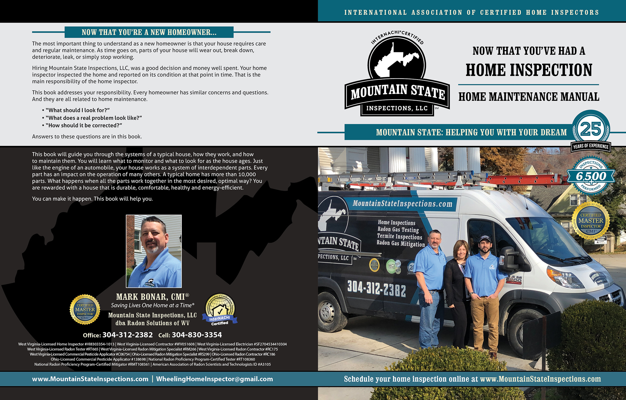 Custom Home Maintenance Book for Mountain State Inspections