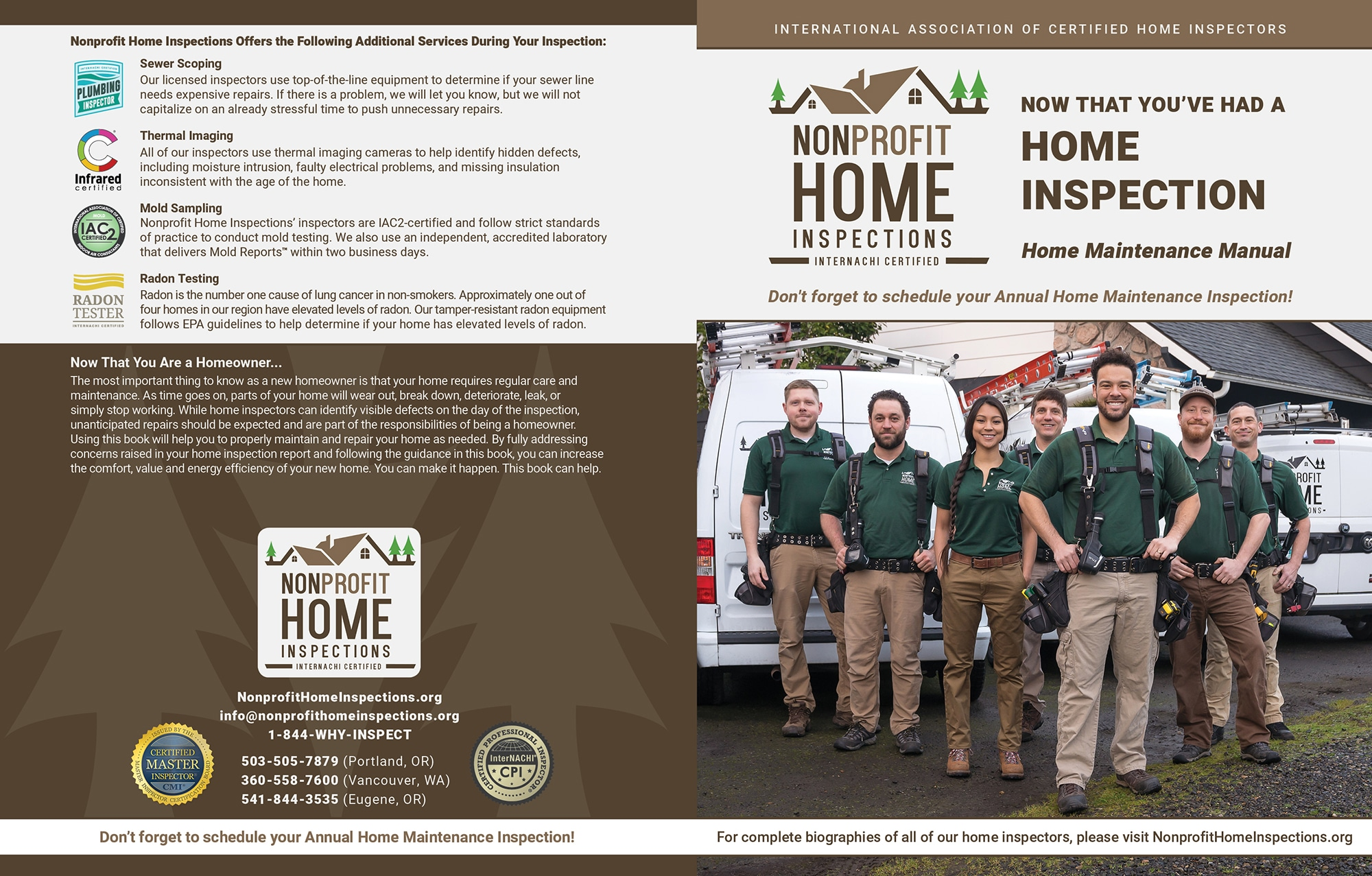 Custom Home Maintenance Book for NonProfit Home Inspections