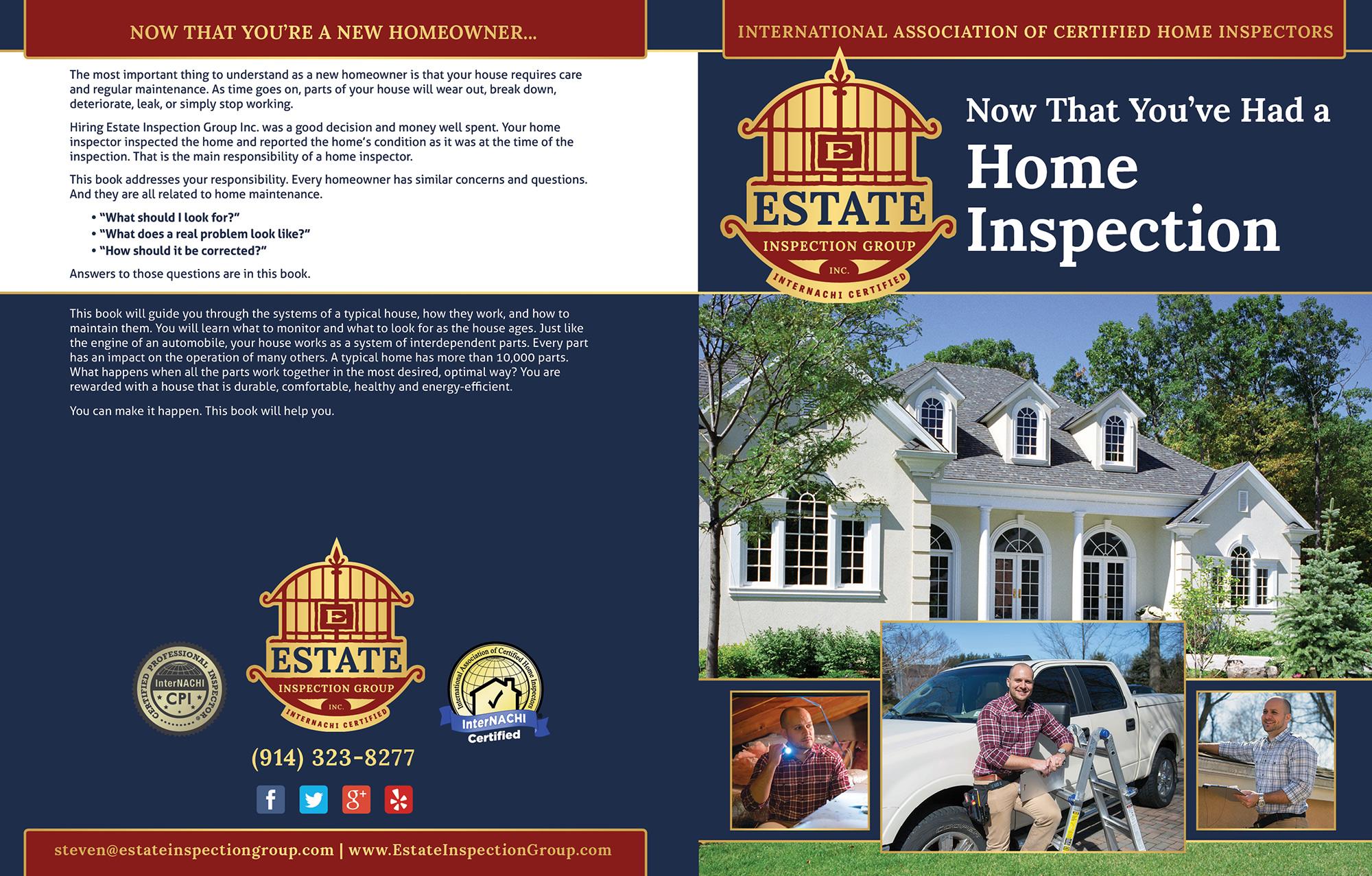 Custom Home Maintenance Book for Estate Inspection Group.