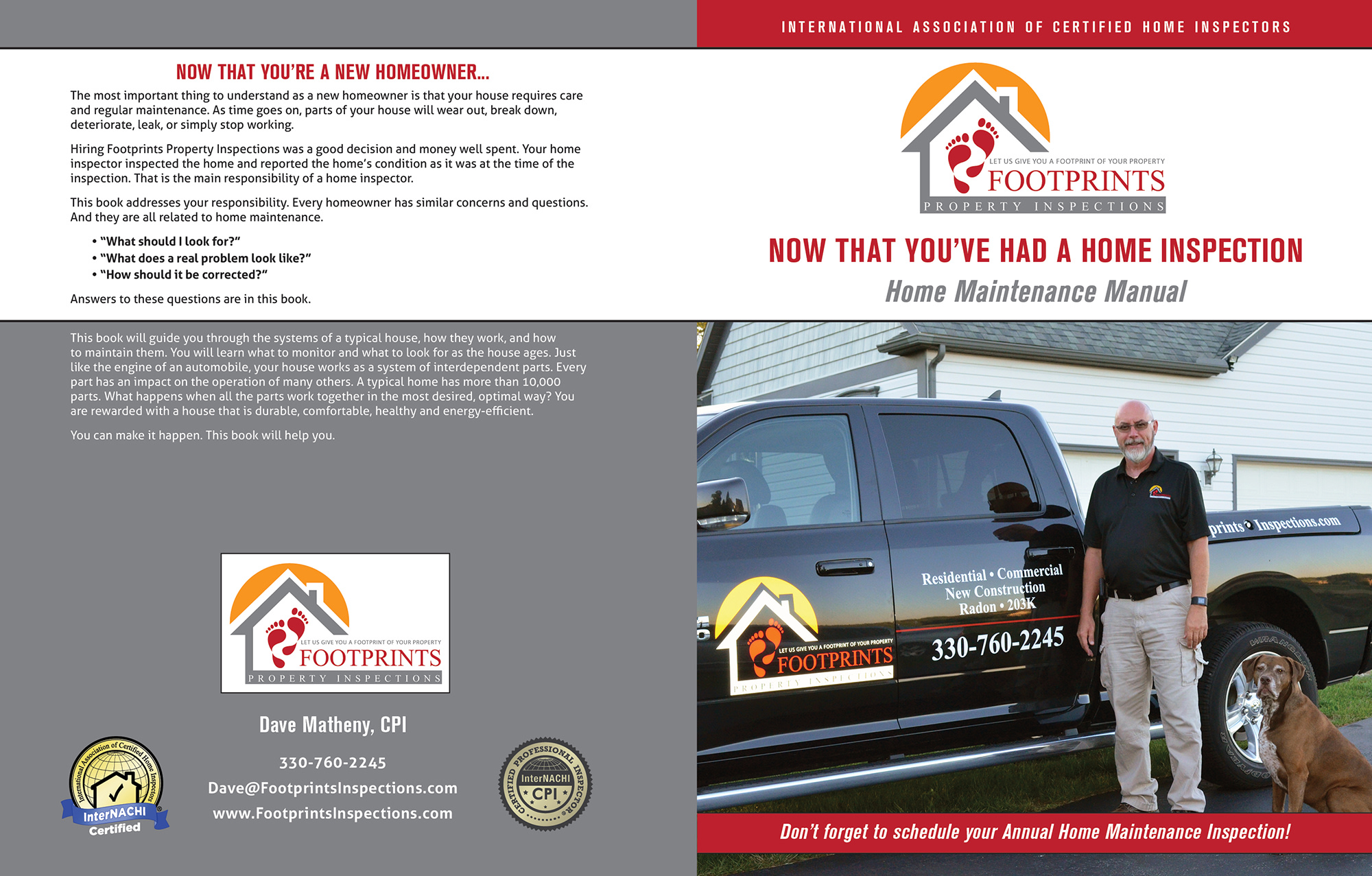 Custom Home Maintenance Book for Footprints Property Inspections.