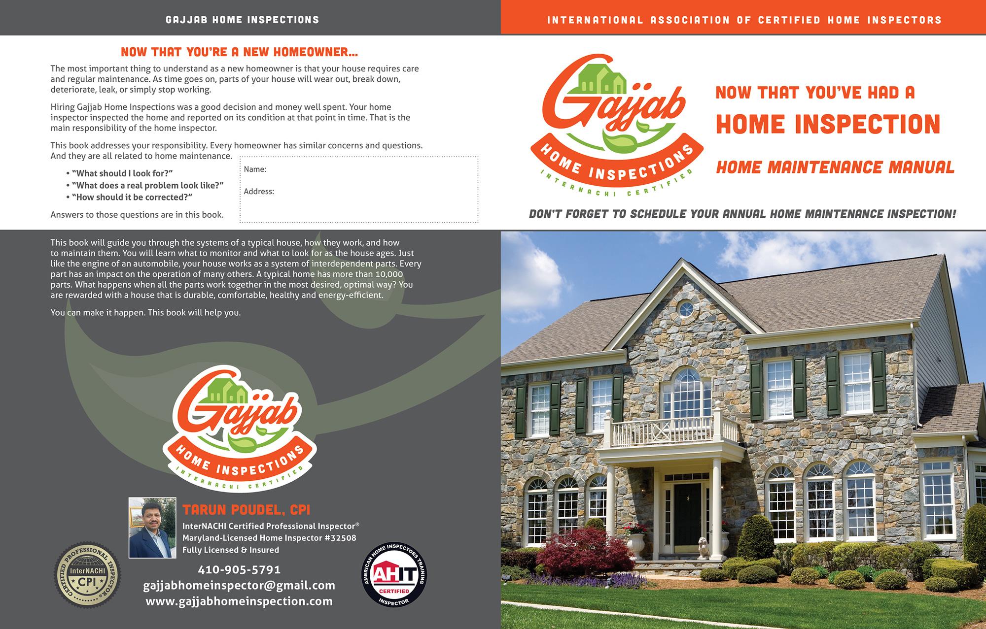 Custom Home Maintenance Book for Gajjab Home Inspections.
