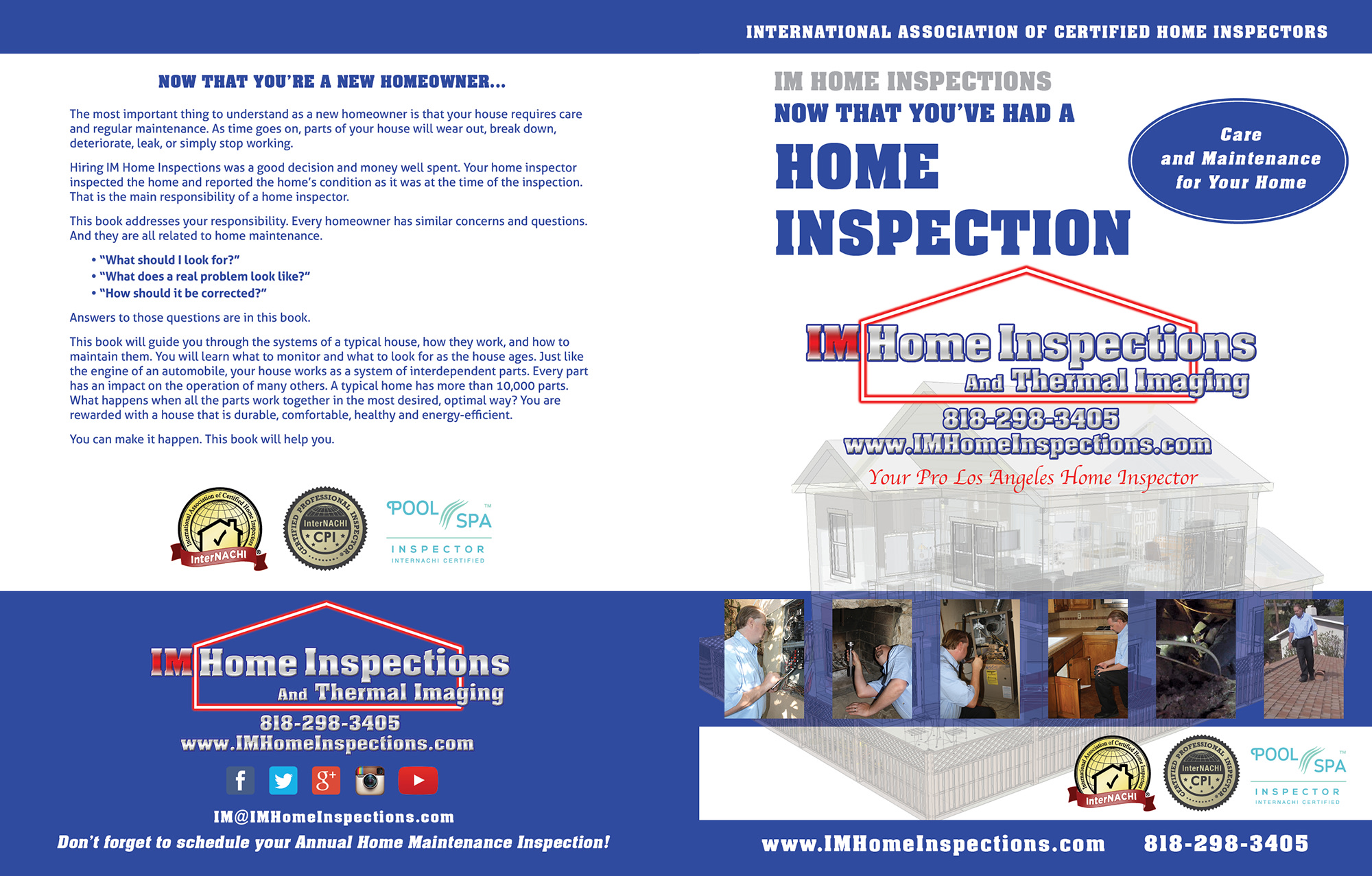 Custom Home Maintenance Book for IM Home Inspections.