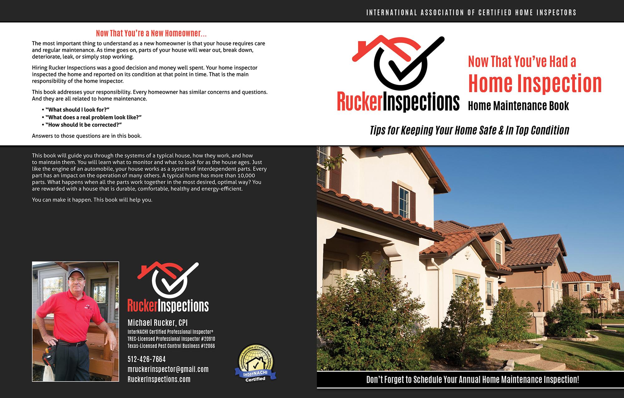 Custom Home Maintenance Book for Rucker Inspections.