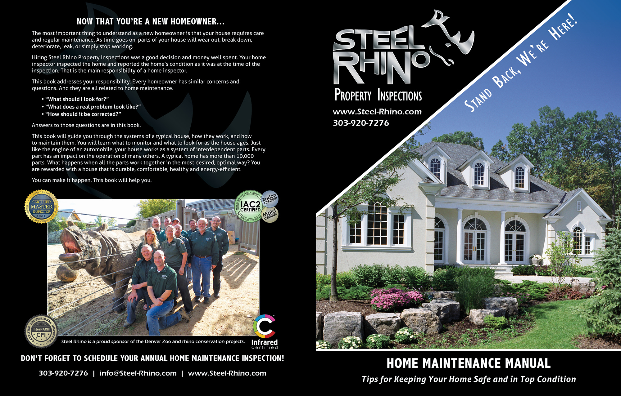 Custom Home Maintenance Book for Steel Rhino Property Inspections.