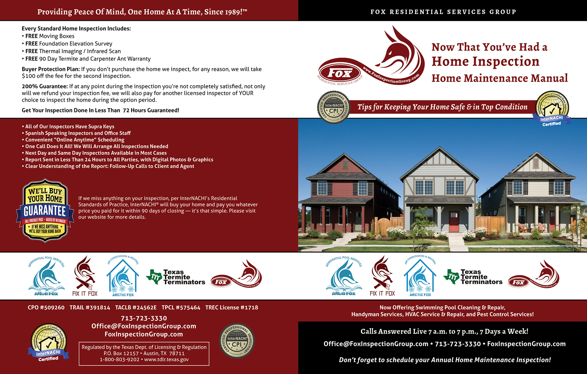 Custom Home Maintenance Book for Fox Residential Services Group