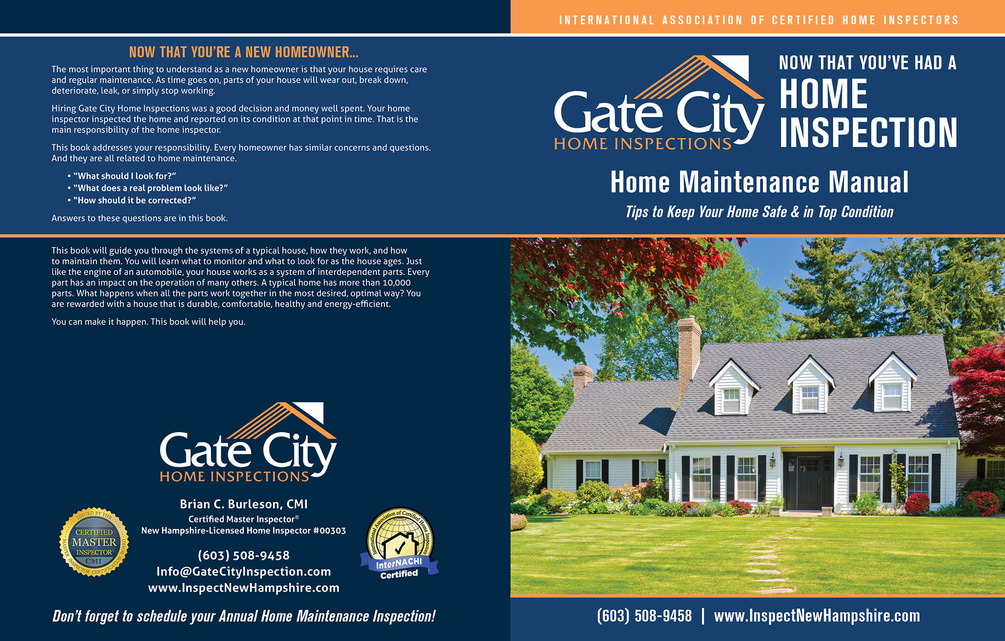Custom Home Maintenance Book for Gate City Home Inspections.