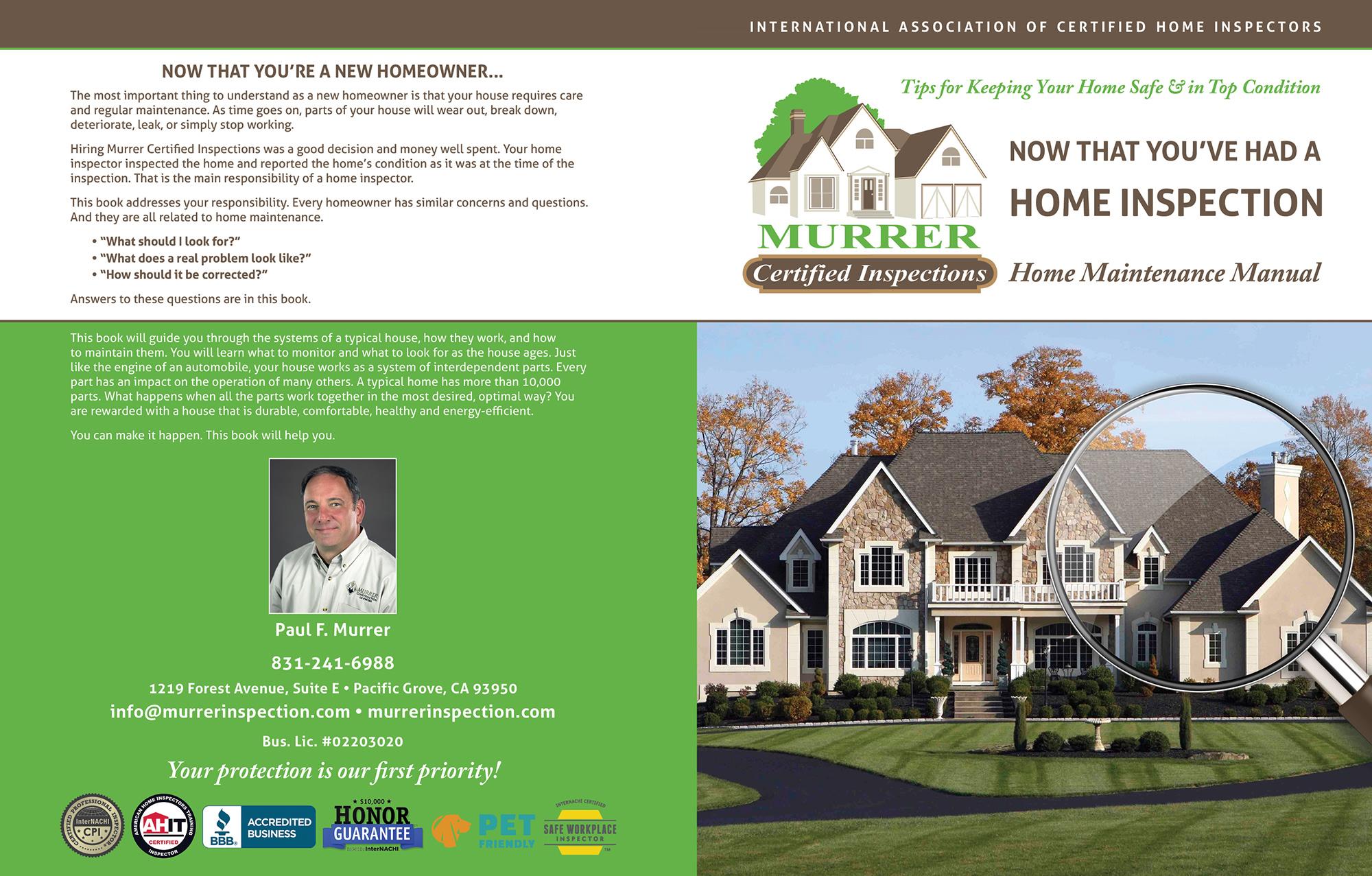 Custom Home Maintenance Book for Murrer Certified Inspections.