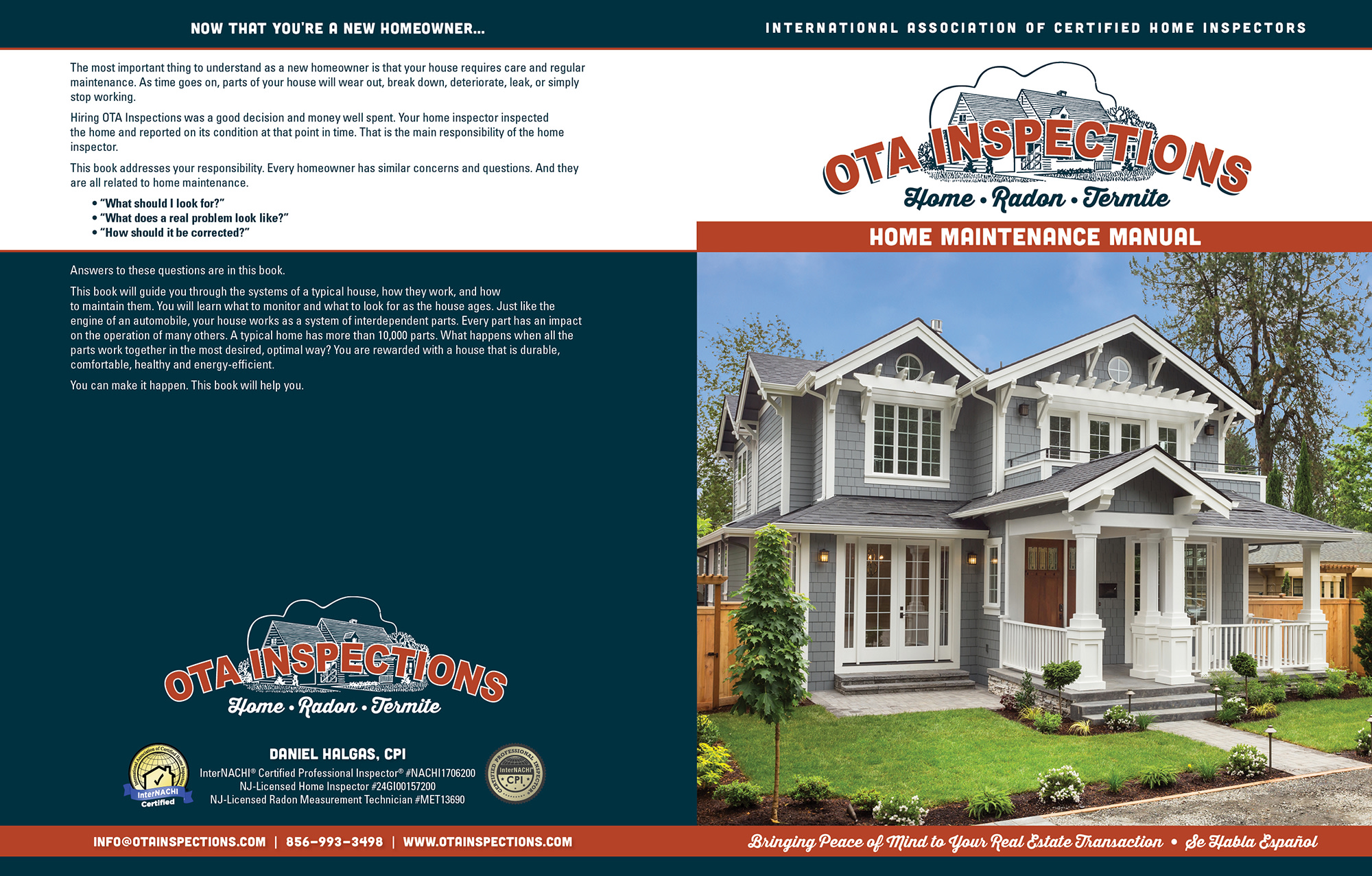 Custom Home Maintenance Book for OTA Inspections