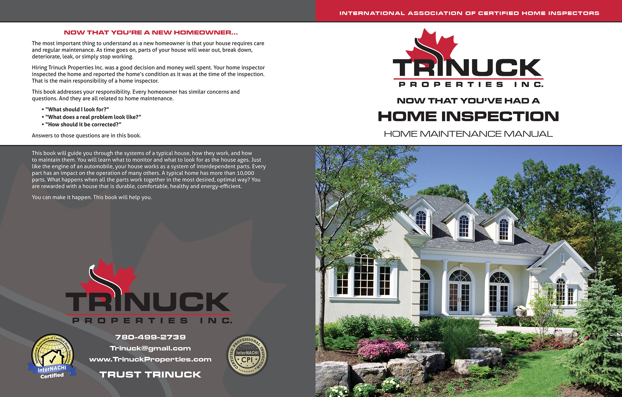 Custom Home Maintenance Book for Trinuck Properties