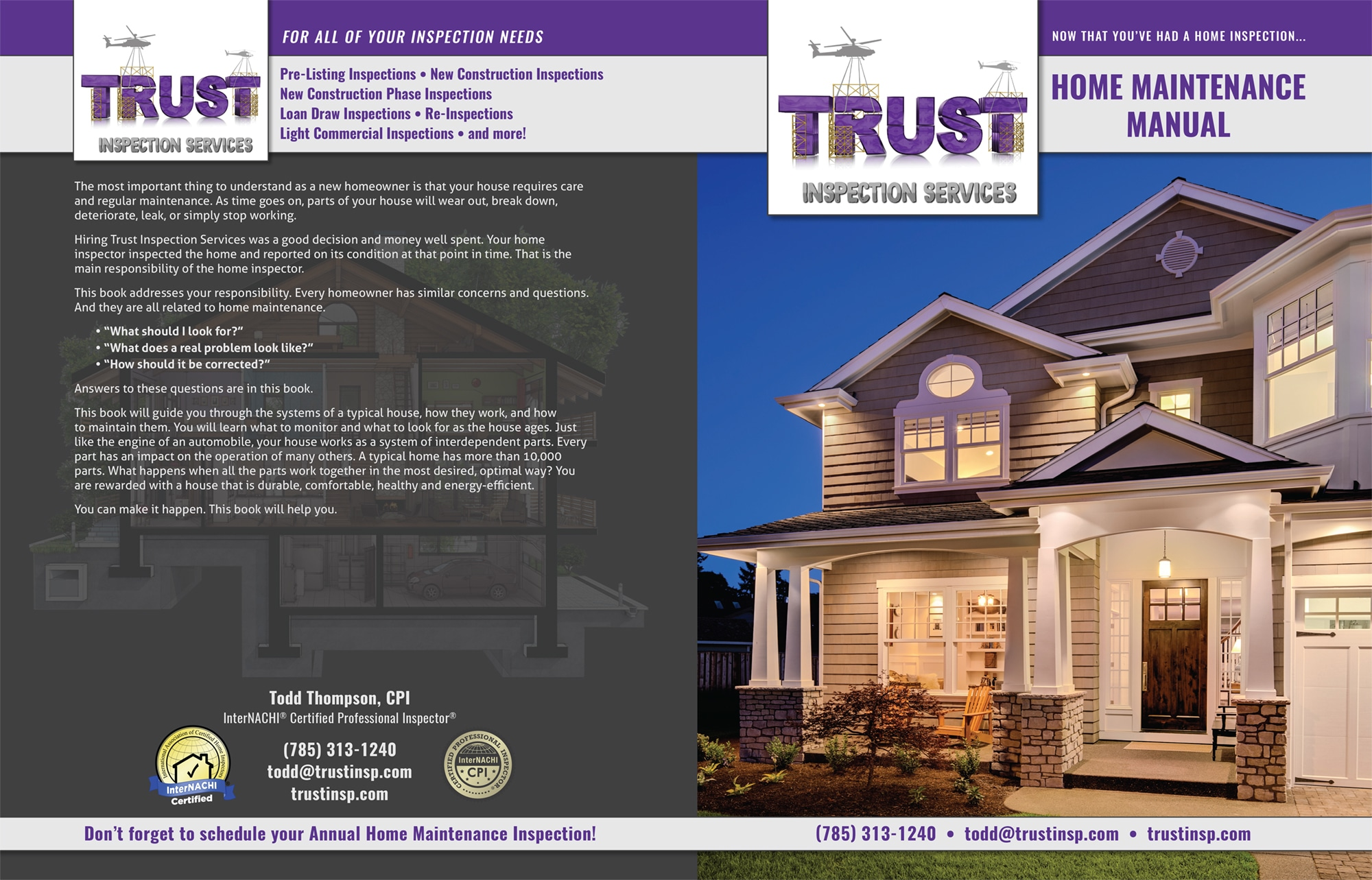 Custom Home Maintenance Books Trust Inspection Services