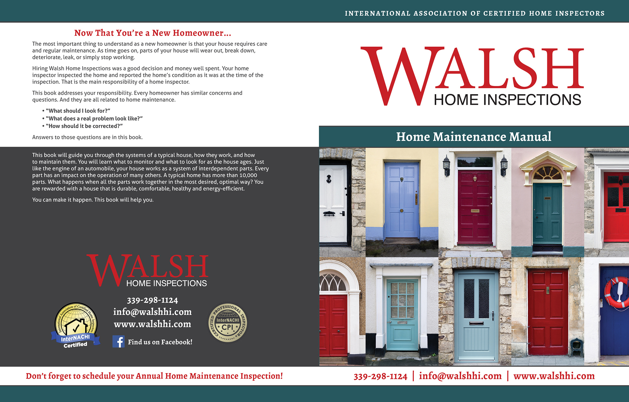 Custom Home Maintenance Book for Walsh Home Inspections.