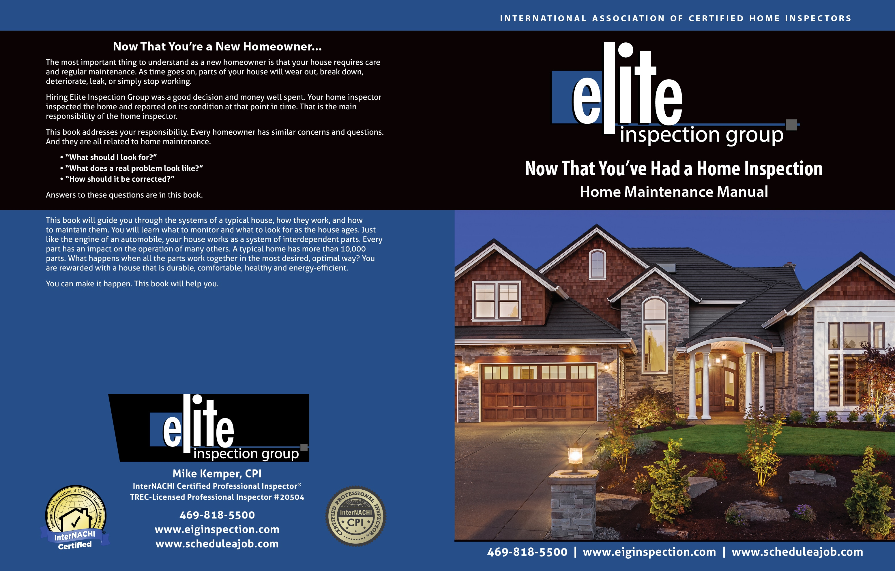 Custom Home Maintenance Book for Elite Inspection Group