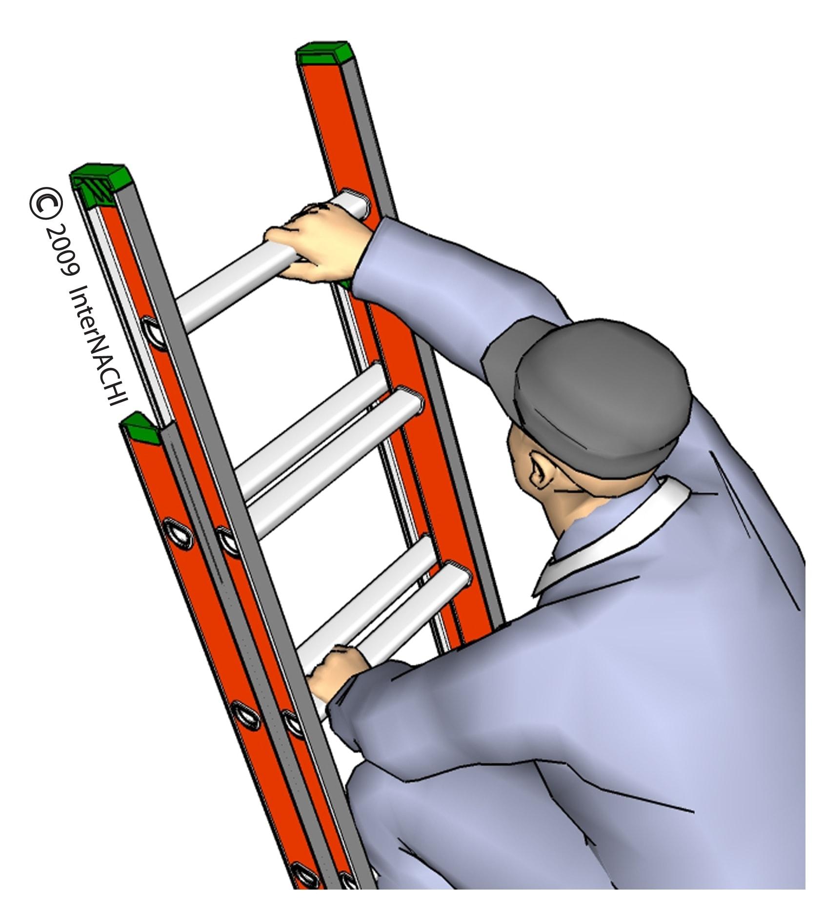 Inspector climbing ladder.