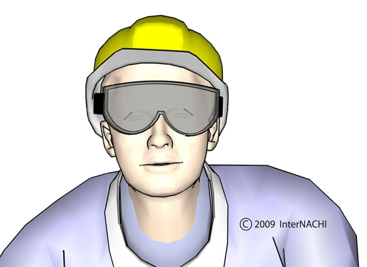 Inspector in hardhat and goggles.