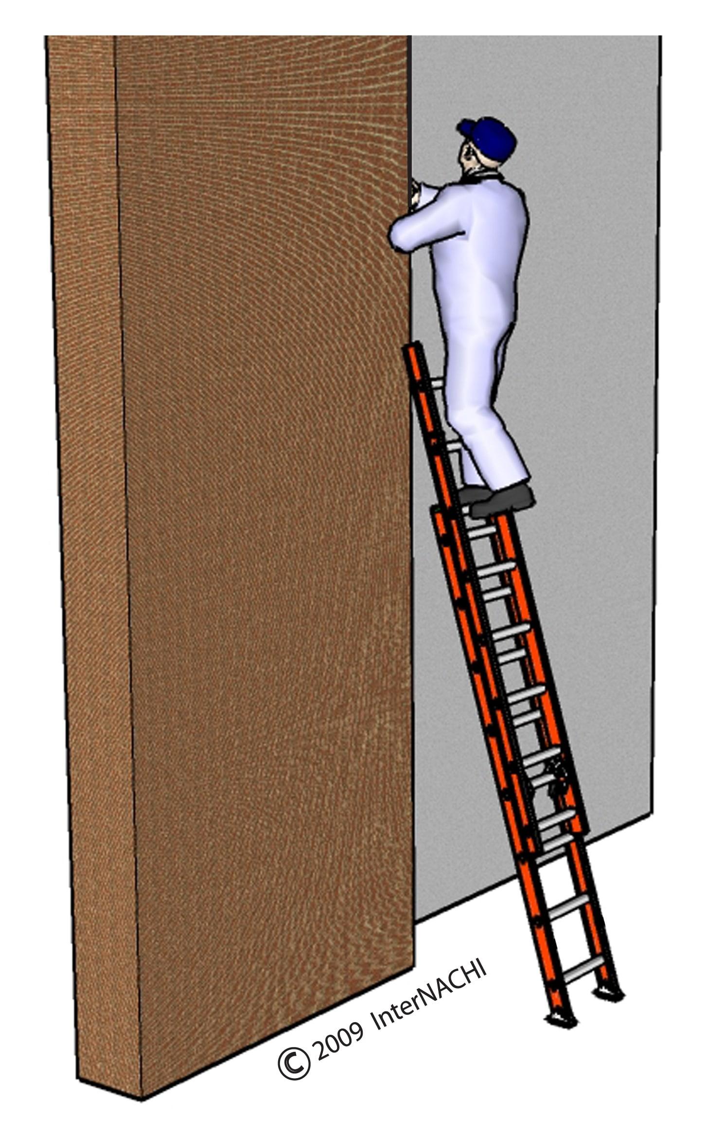 Improper use of a ladder.