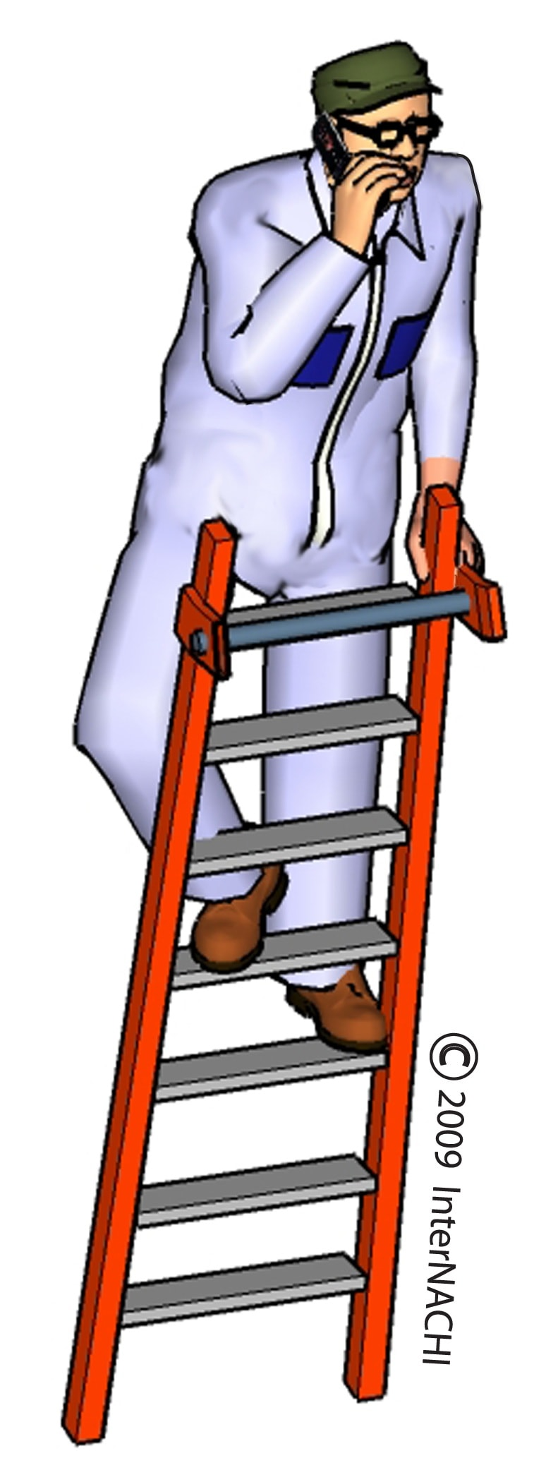 Inspector on ladder with cell phone.