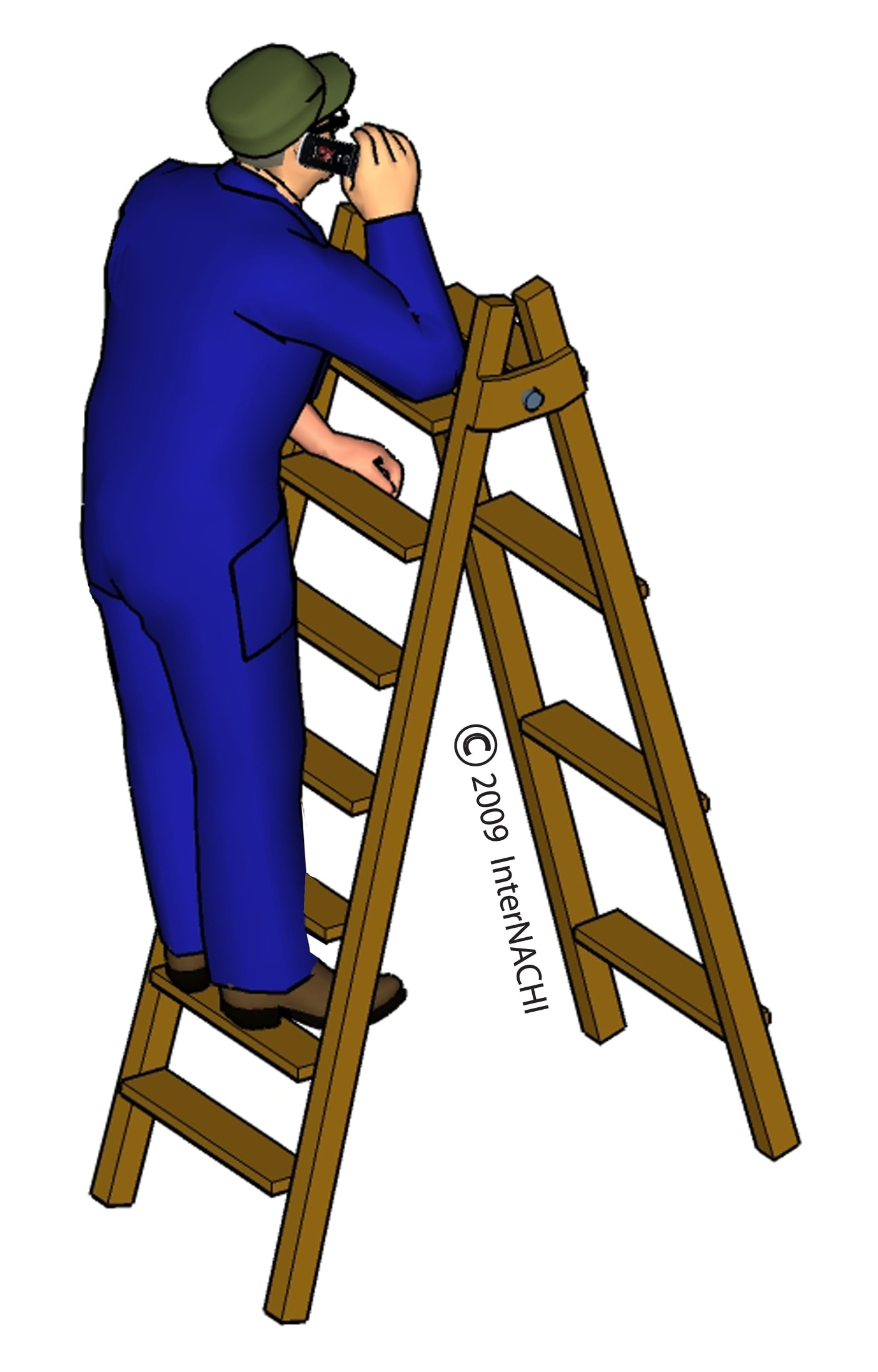 Inspector on a ladder with a cell phone.