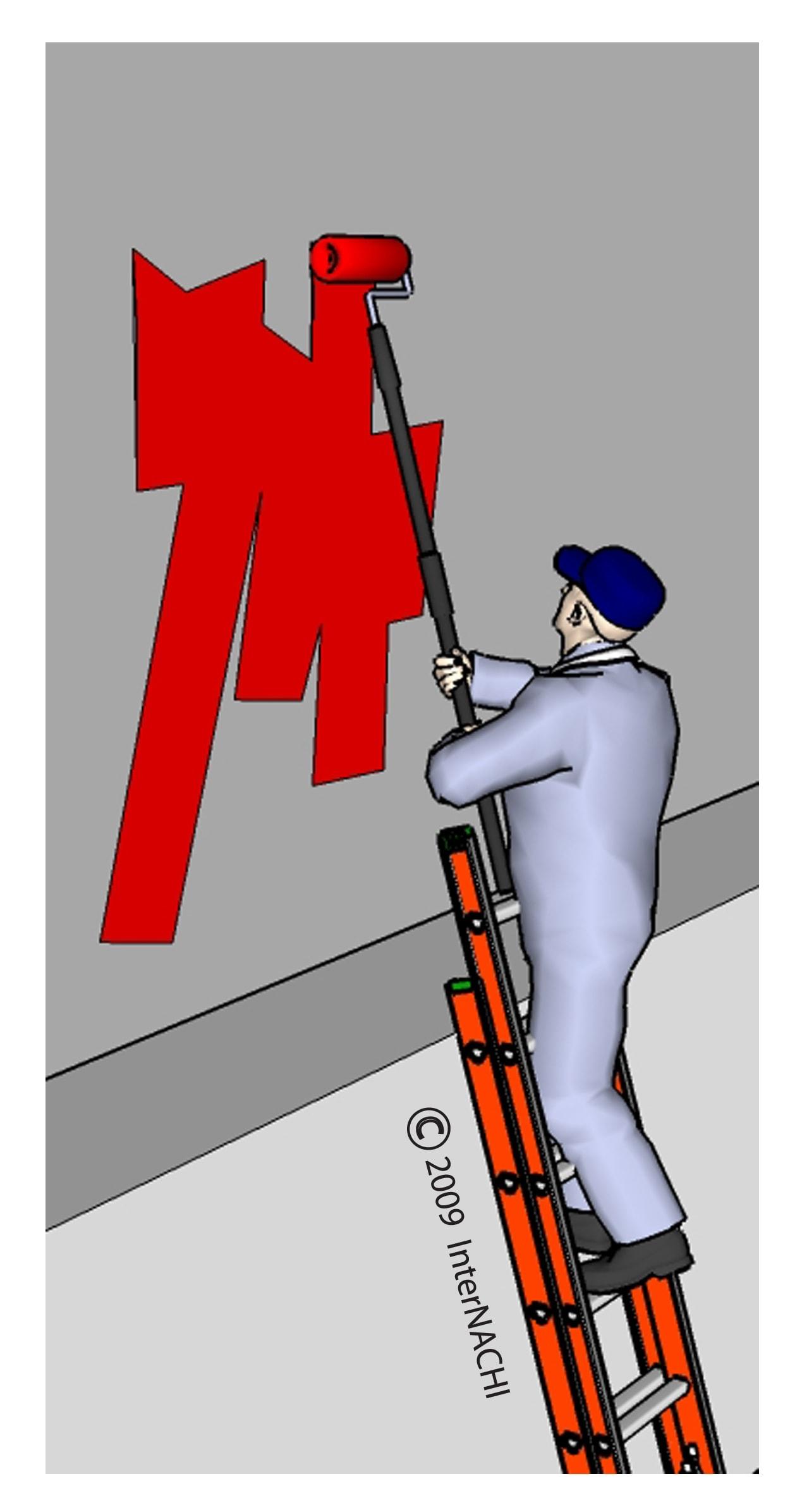 Safe ladder use.