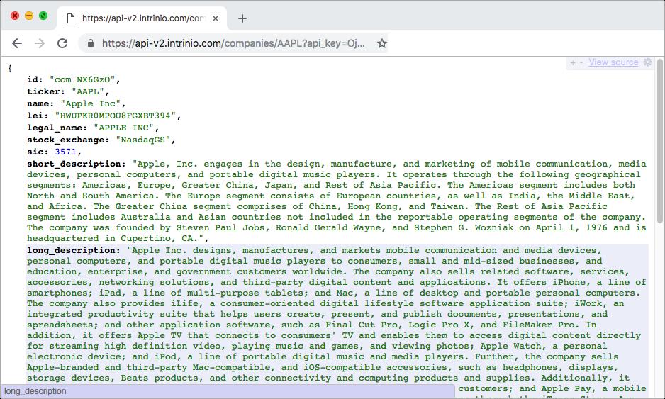 Web API Tutorial | Intrinio