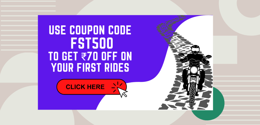 coupon code to get ₹70 off on your first bike rental ride