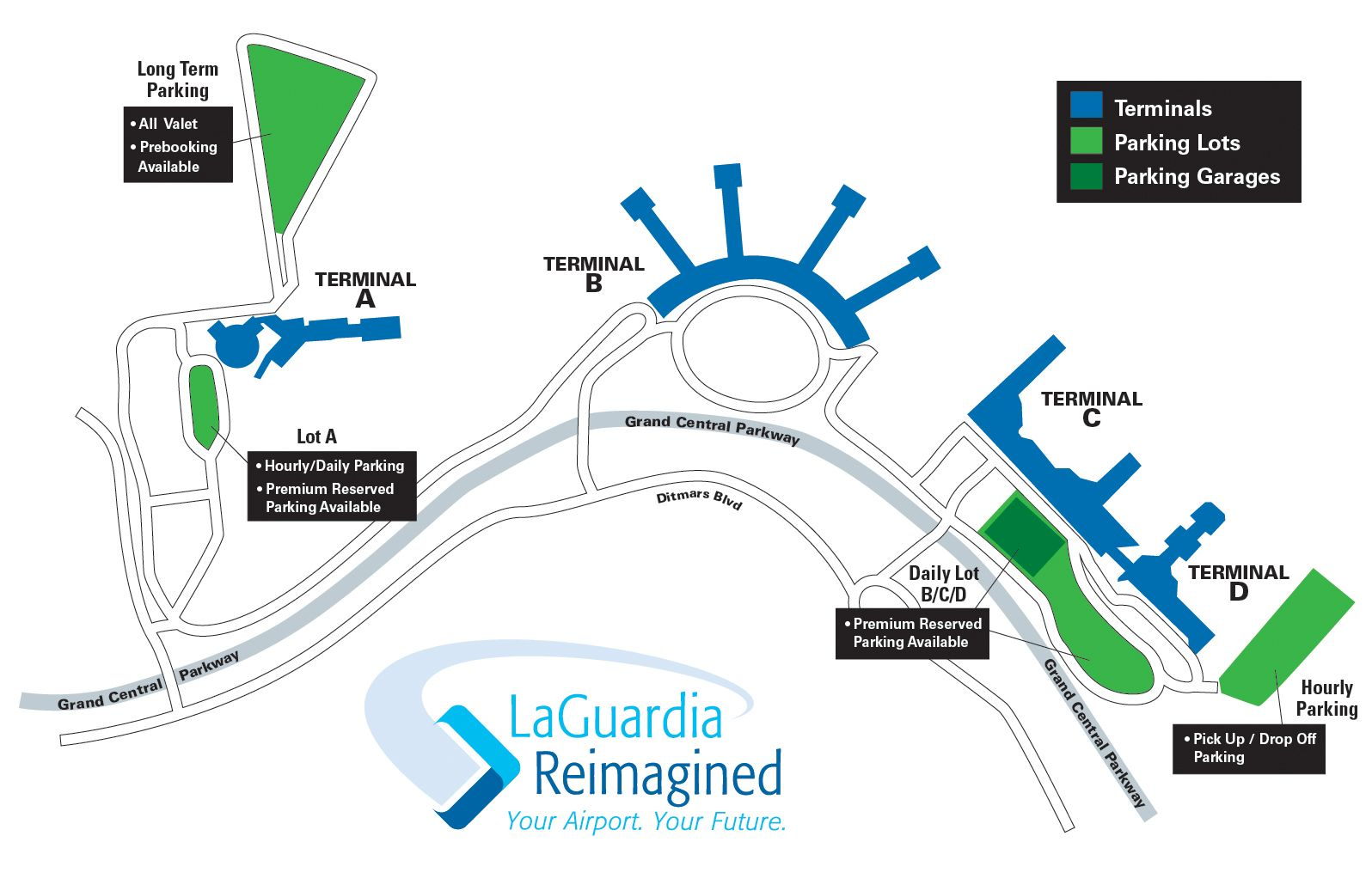 Click on any of the pictures to see the airport diagram - Click For An Airport Wide Map Of Where The Parking Facilities Are Located